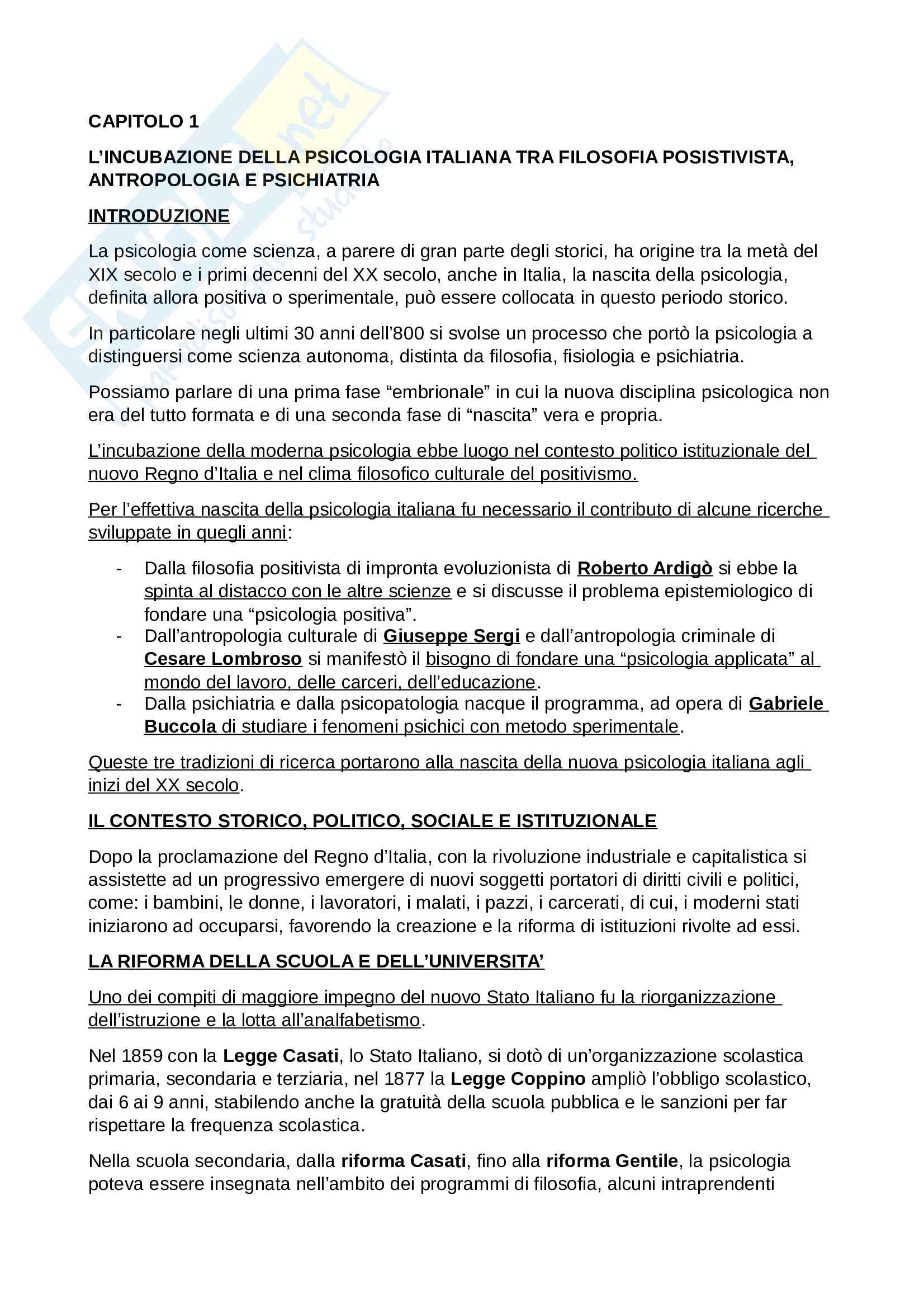 Riassunto Esame Storia delle Scienze Psicologiche, prof. Foschi, libro consigliato Percorsi di Storia della Psicologia Italiana, Foschi, Cimino Pag. 2