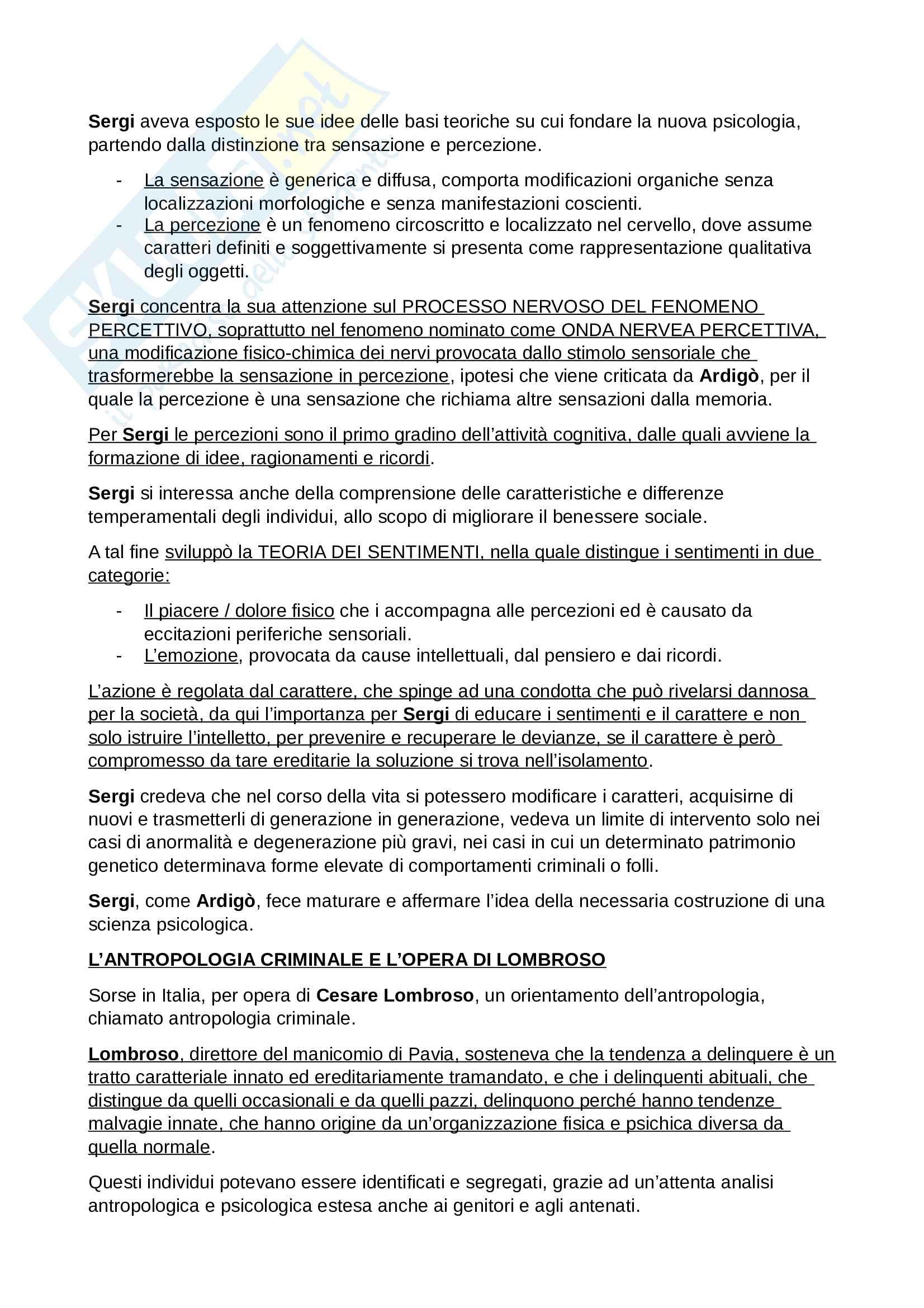 Riassunto Esame Storia delle Scienze Psicologiche, prof. Foschi, libro consigliato Percorsi di Storia della Psicologia Italiana, Foschi, Cimino Pag. 6