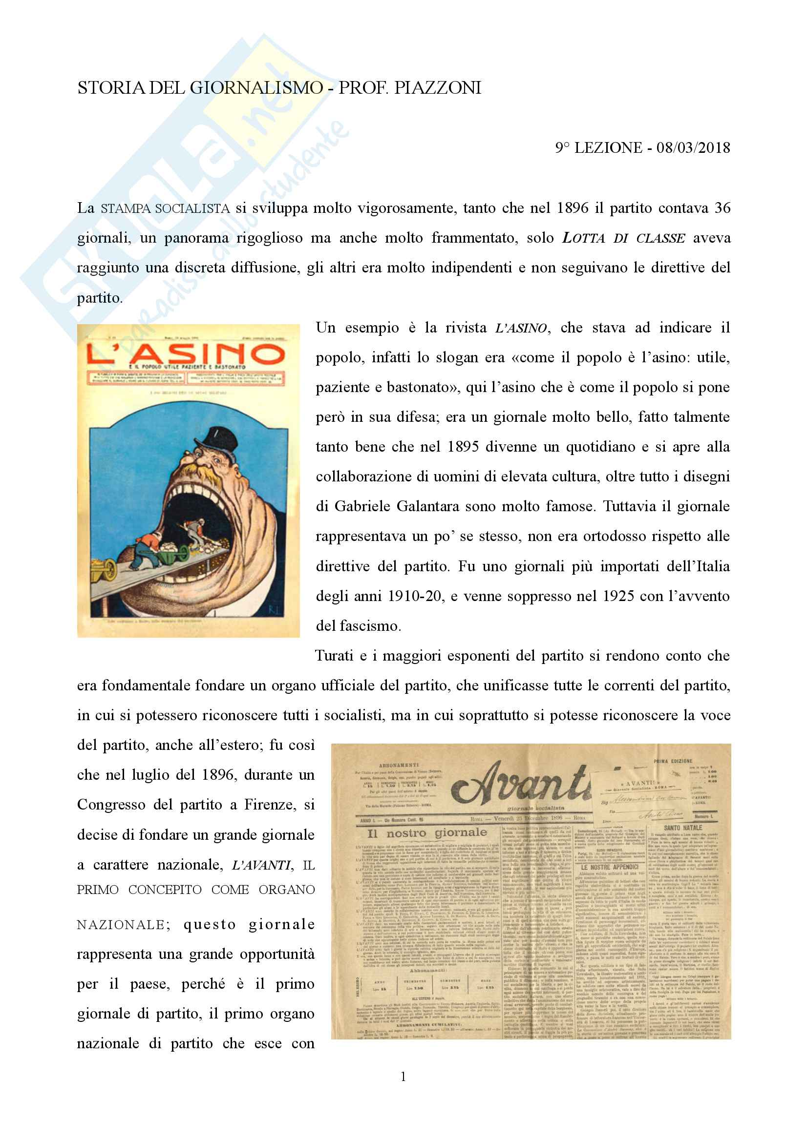 Storia del giornalismo appunti lezione 9 08/03/2018