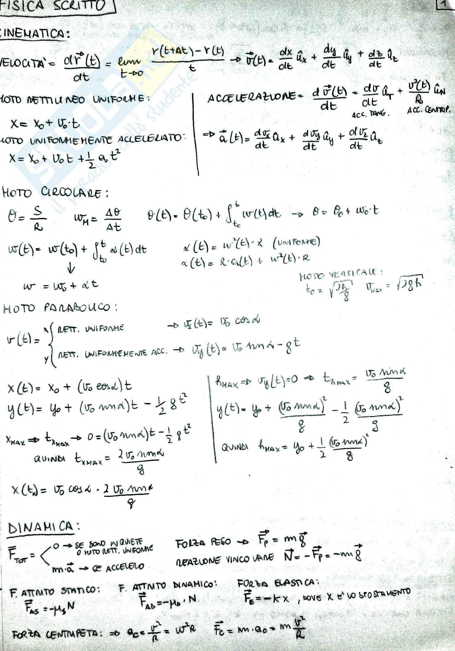 Formulario Fisica 1, prof. Barucca