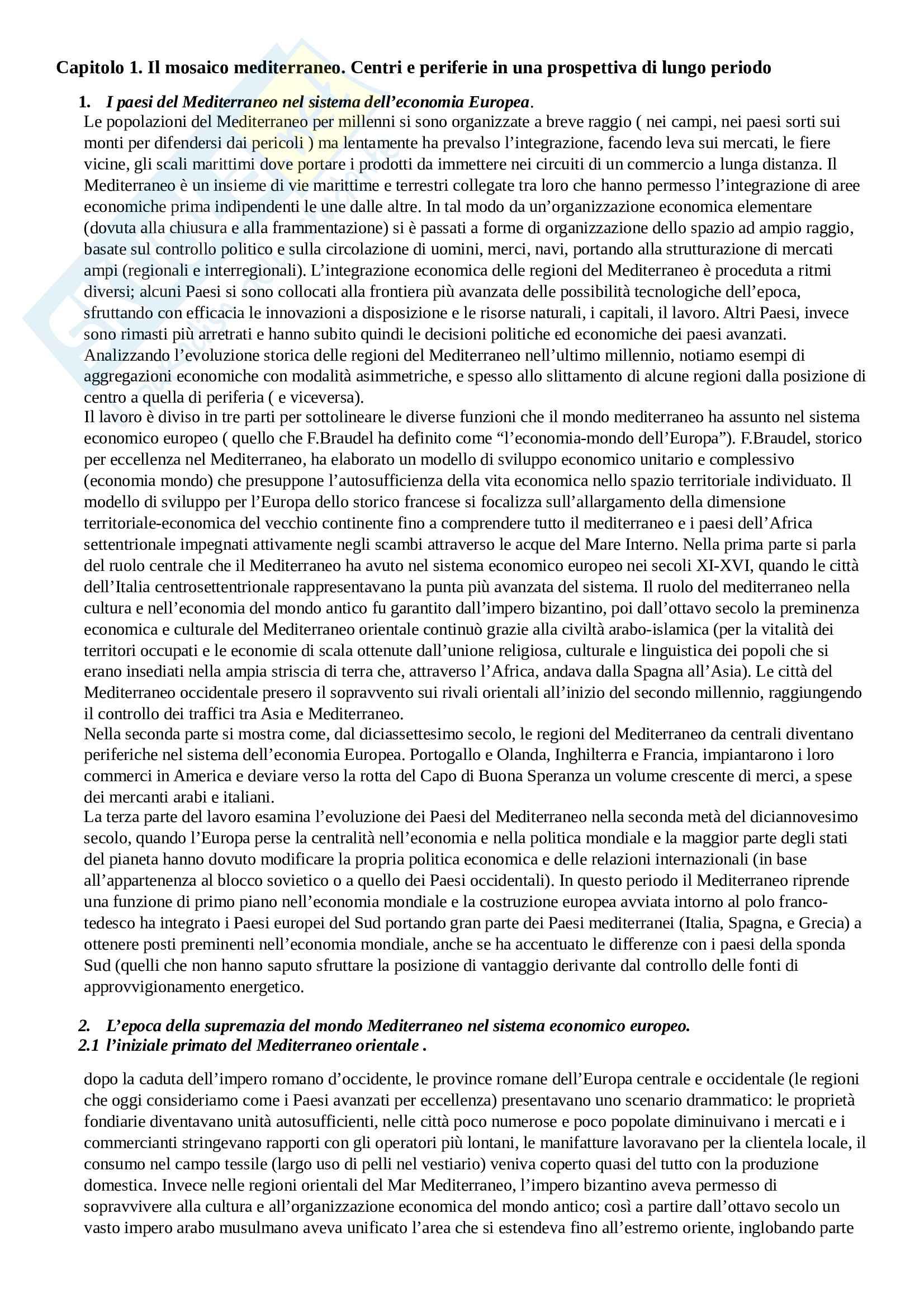 Riassunto esame Geografia Politica del Mediterrano, prof.Viganoni, libro consigliato Il Mediterrano.Geografia della complessità, Fuschi