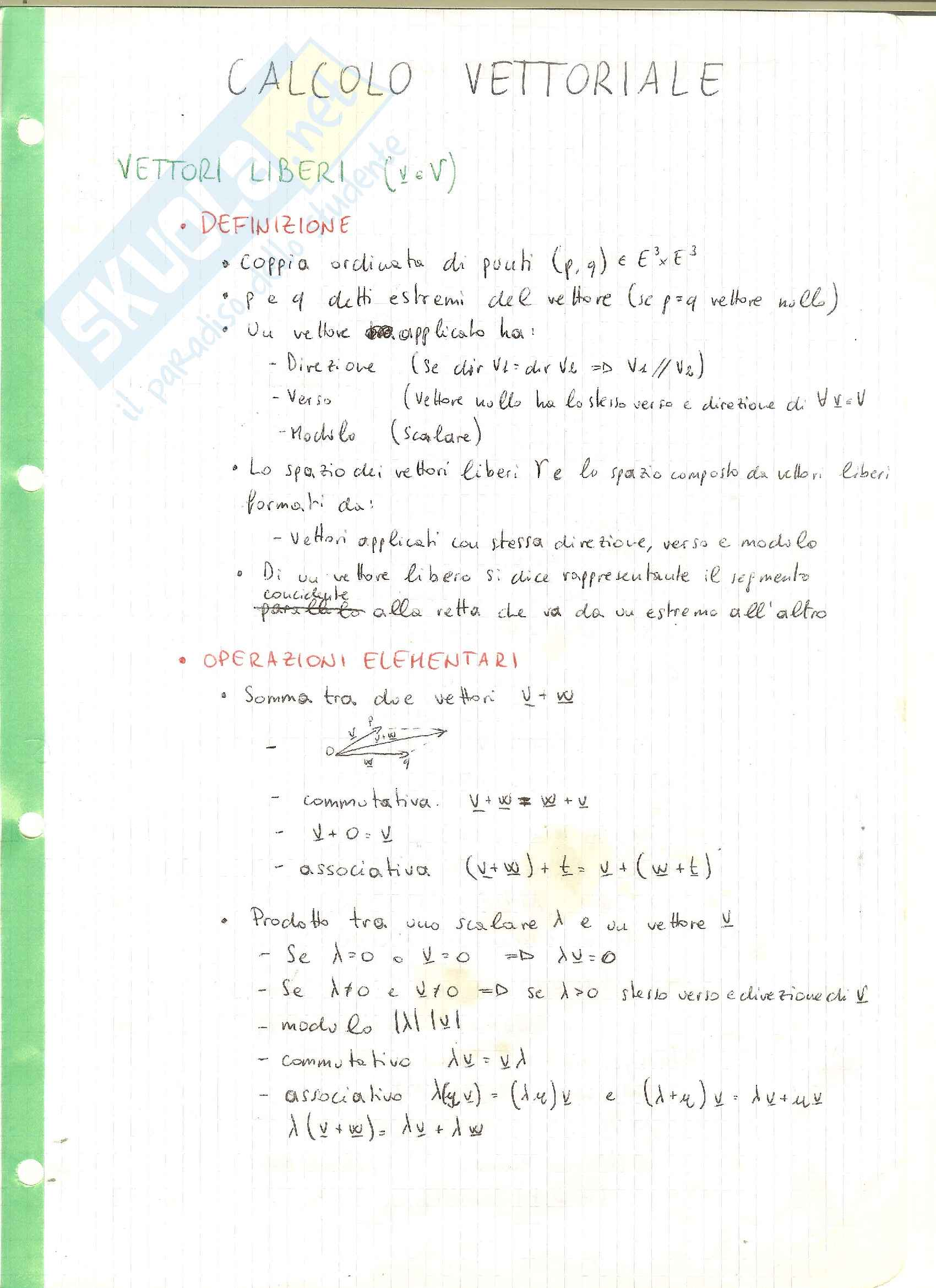 Appunti di Geometria e Algebra Lineare