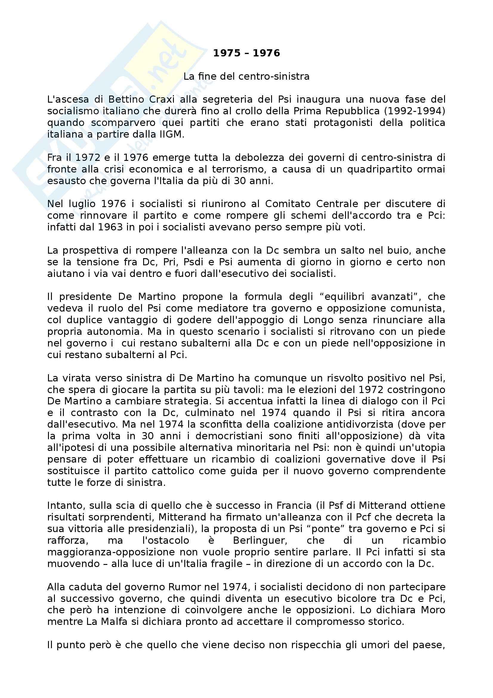 Riassunto esame Storia Contemporanea, prof. Punzo, libro consigliato La Cruna dell'Ago Craxi il Partito Socialista e la Crisi della Repubblica, Colarizi