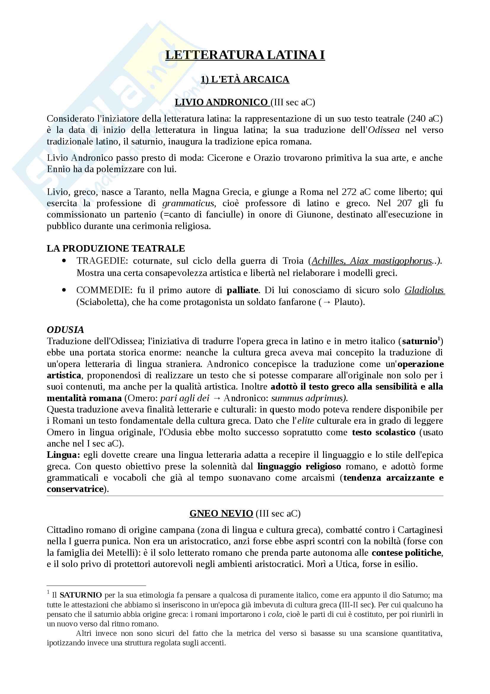 sunto di letteratura latina (da Livio Andronico a Rutilio Namaziano) per la parte monografica dell'esame di latino (prof. Castagna)