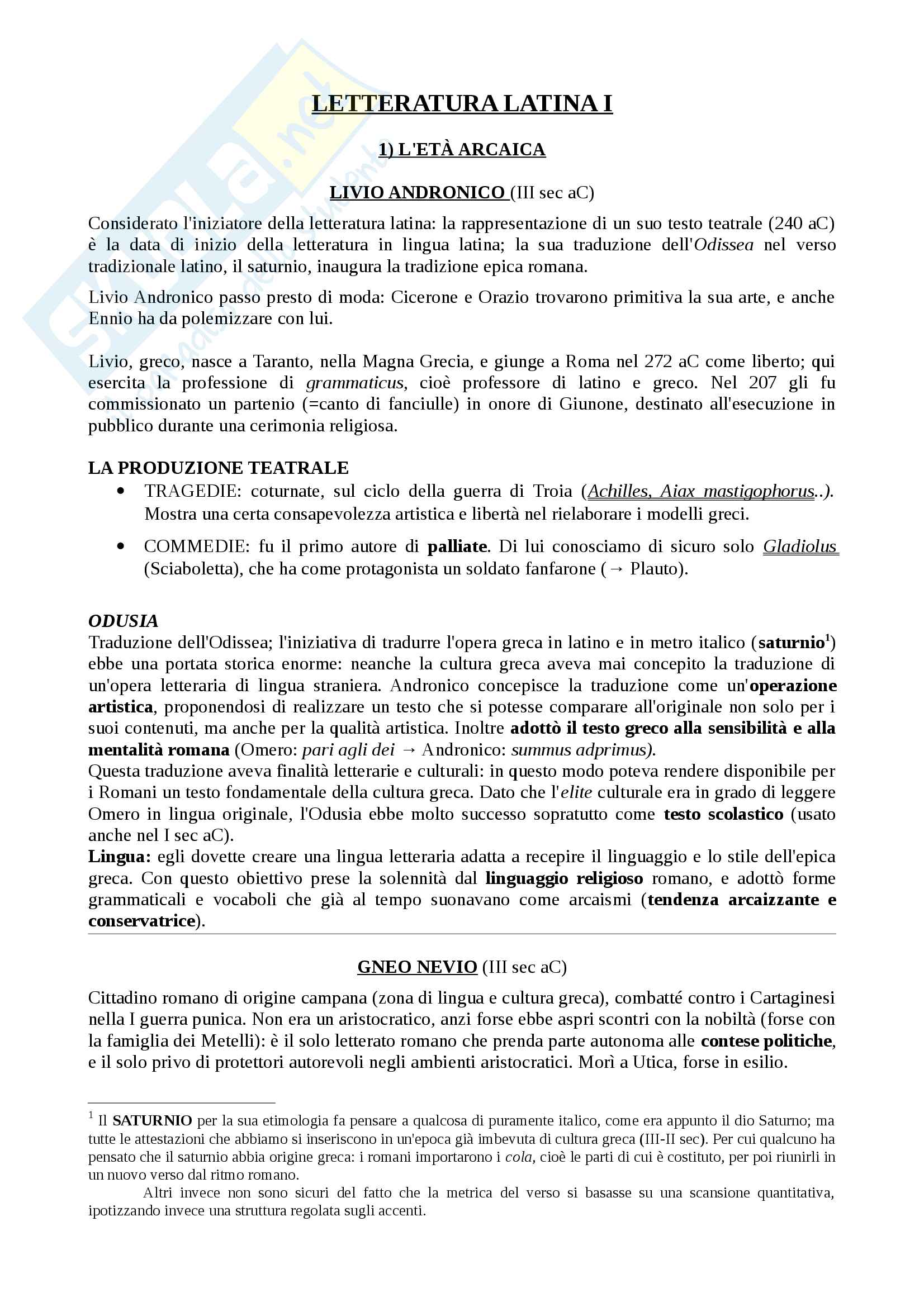 appunto L. Castagna Letteratura latina