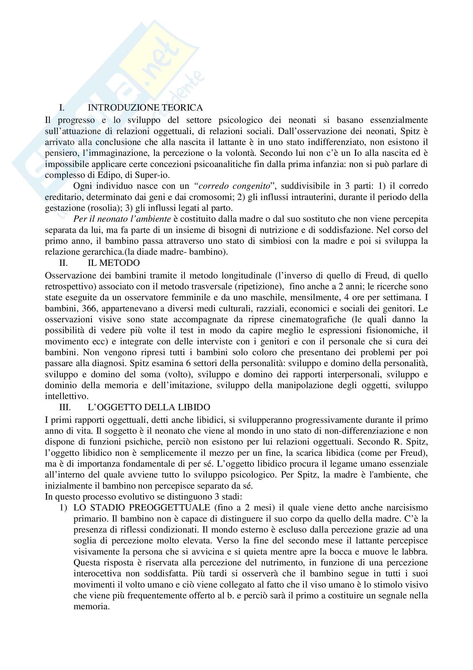 Riassunto esame Pedagogia speciale per l'infanzia, prof. Biagioli, libro consigliato Il primo anno di vita del bambino, Spitz