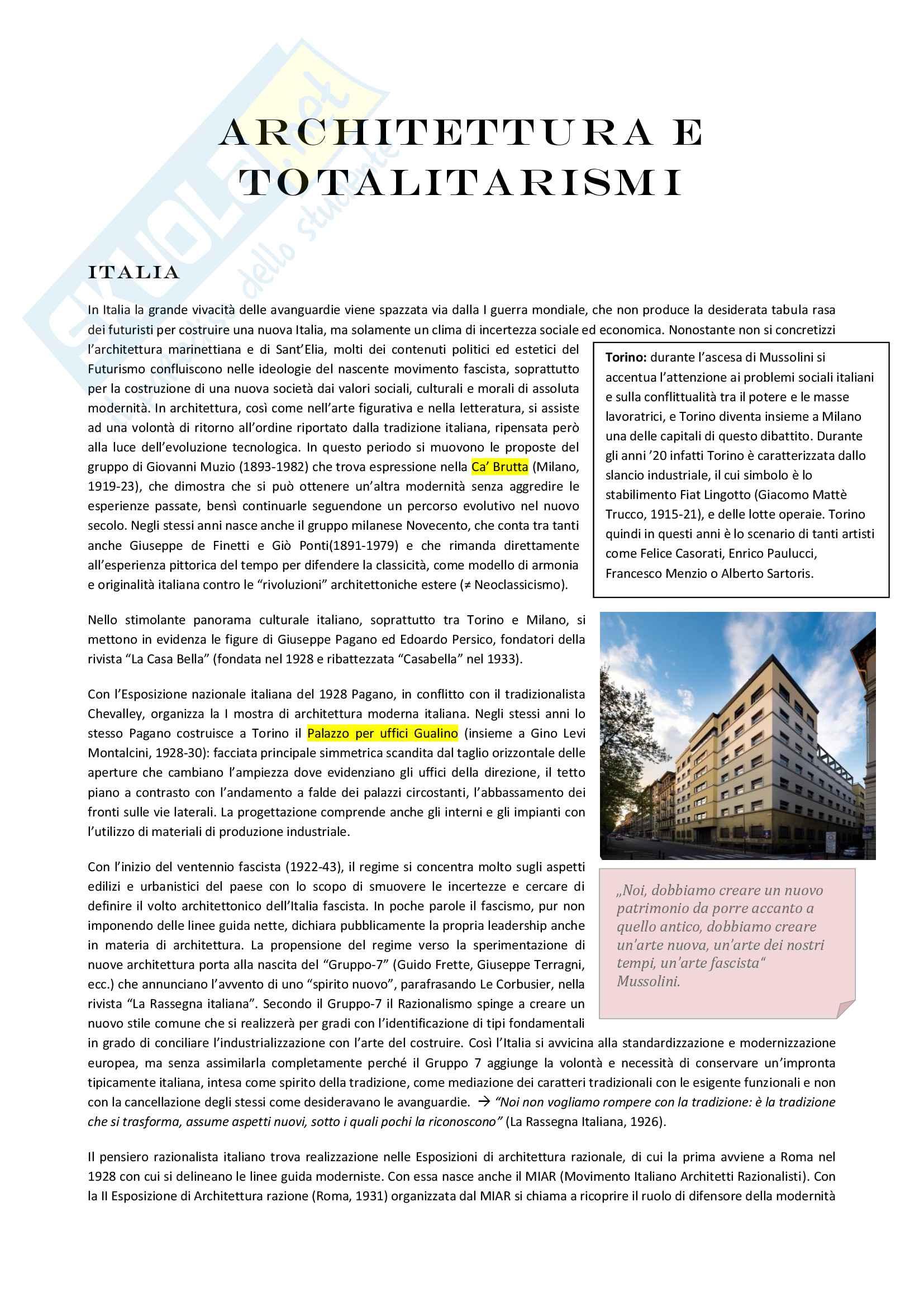 appunto G. Montanari Storia dell'architettura contemporanea