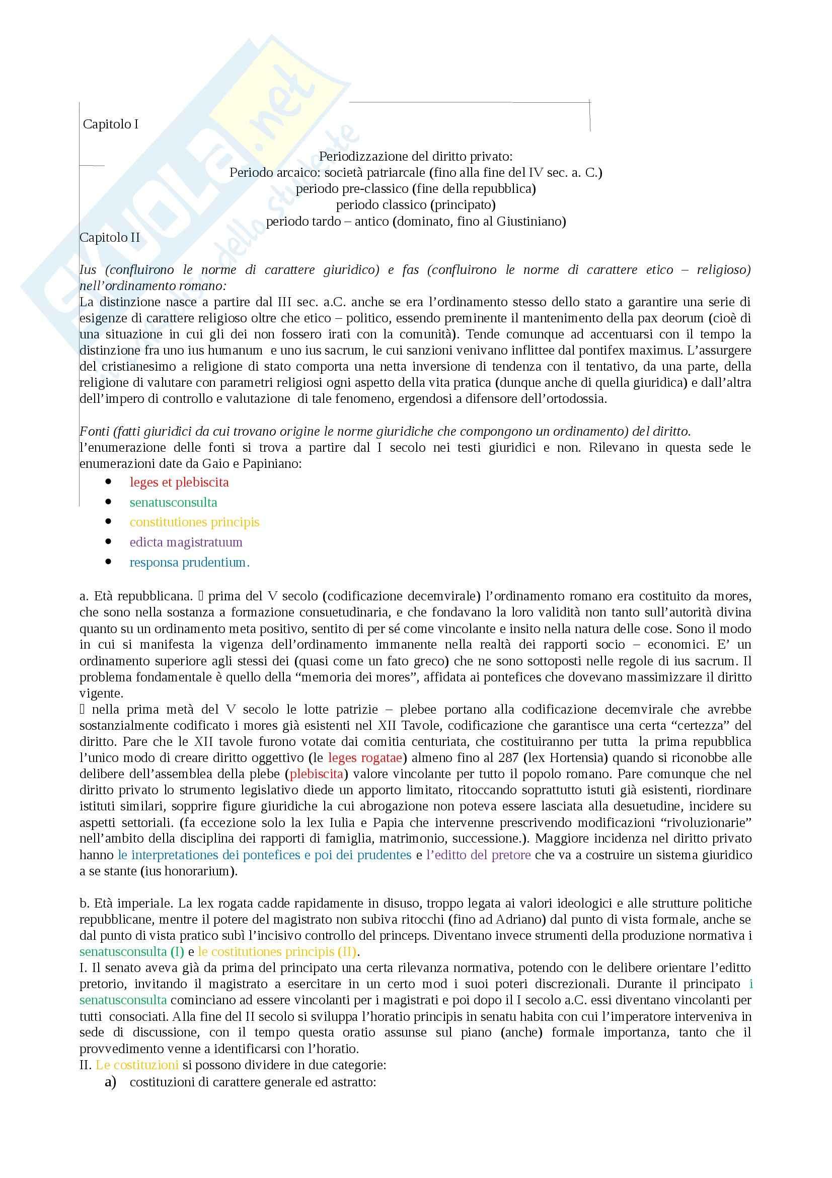 Riassunto esame Istituzioni di diritto romano, prof. Miglietta, libro consigliato Istituzioni di diritto romano, Talamanca