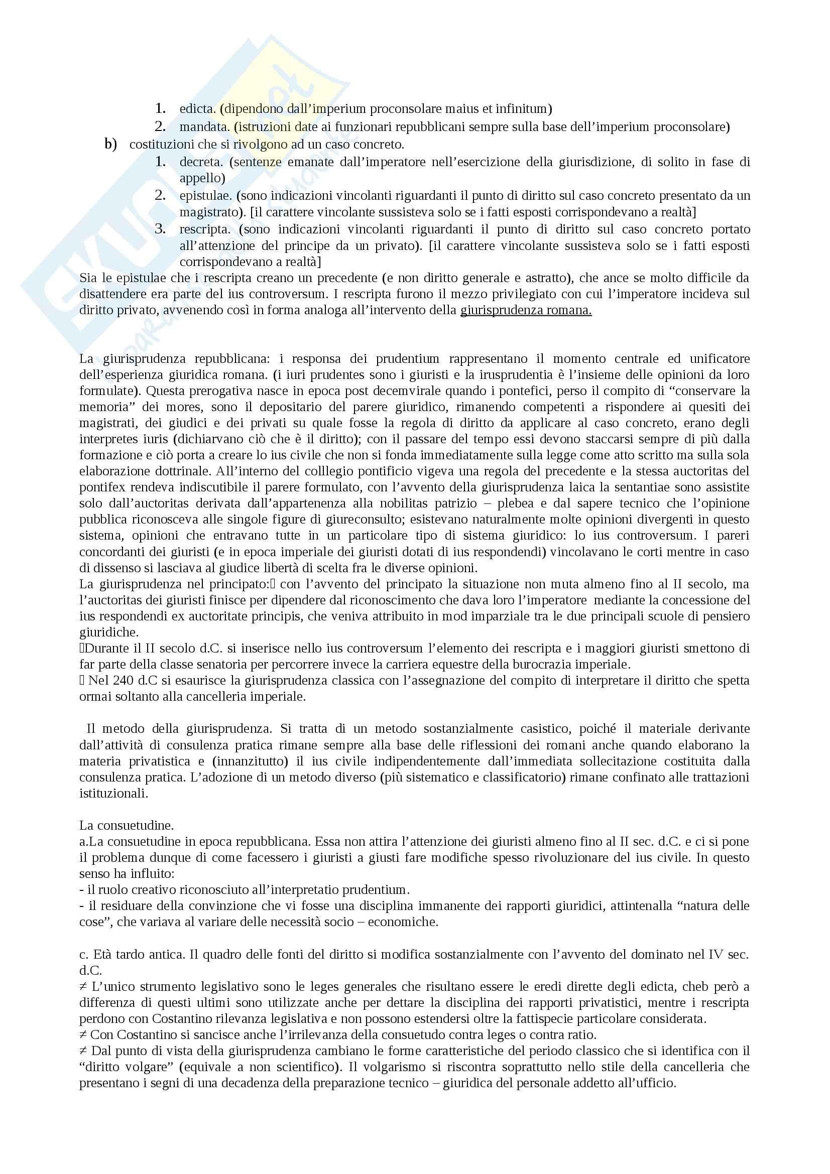 Riassunto esame Istituzioni di diritto romano, prof. Miglietta, libro consigliato Istituzioni di diritto romano, Talamanca Pag. 2
