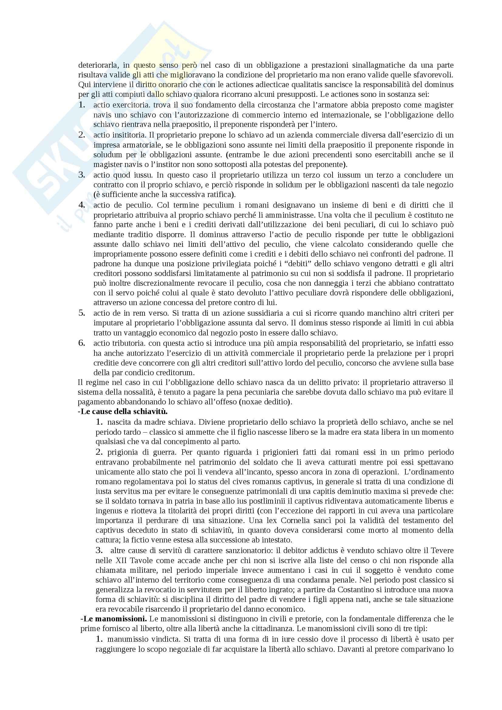 Riassunto esame Istituzioni di diritto romano, prof. Miglietta, libro consigliato Istituzioni di diritto romano, Talamanca Pag. 6
