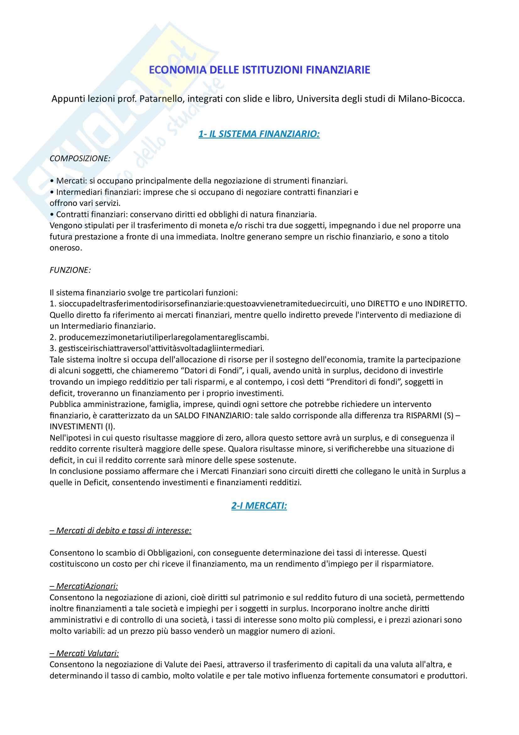 Riassunto esame Economia, prof. Patarnello, libro consigliato Economia dei mercati finanziari, Mishkin