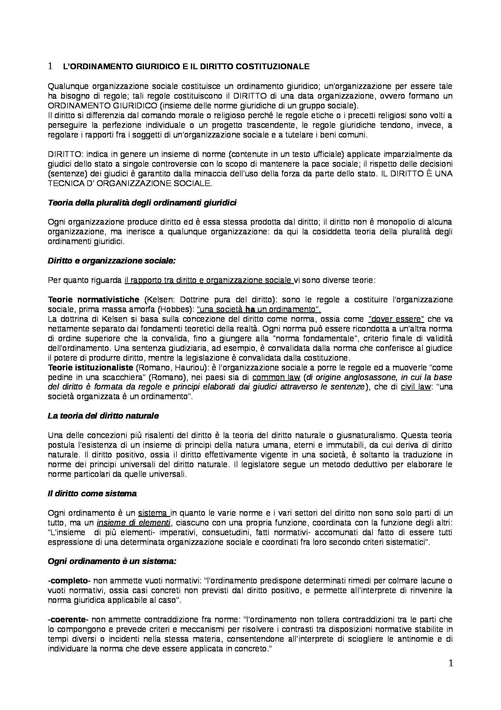 Riassunto esame Istituzioni di Diritto Pubblico, prof. Forte, libro consigliato Corso di Diritto Pubblico di Barbera e Fusaro