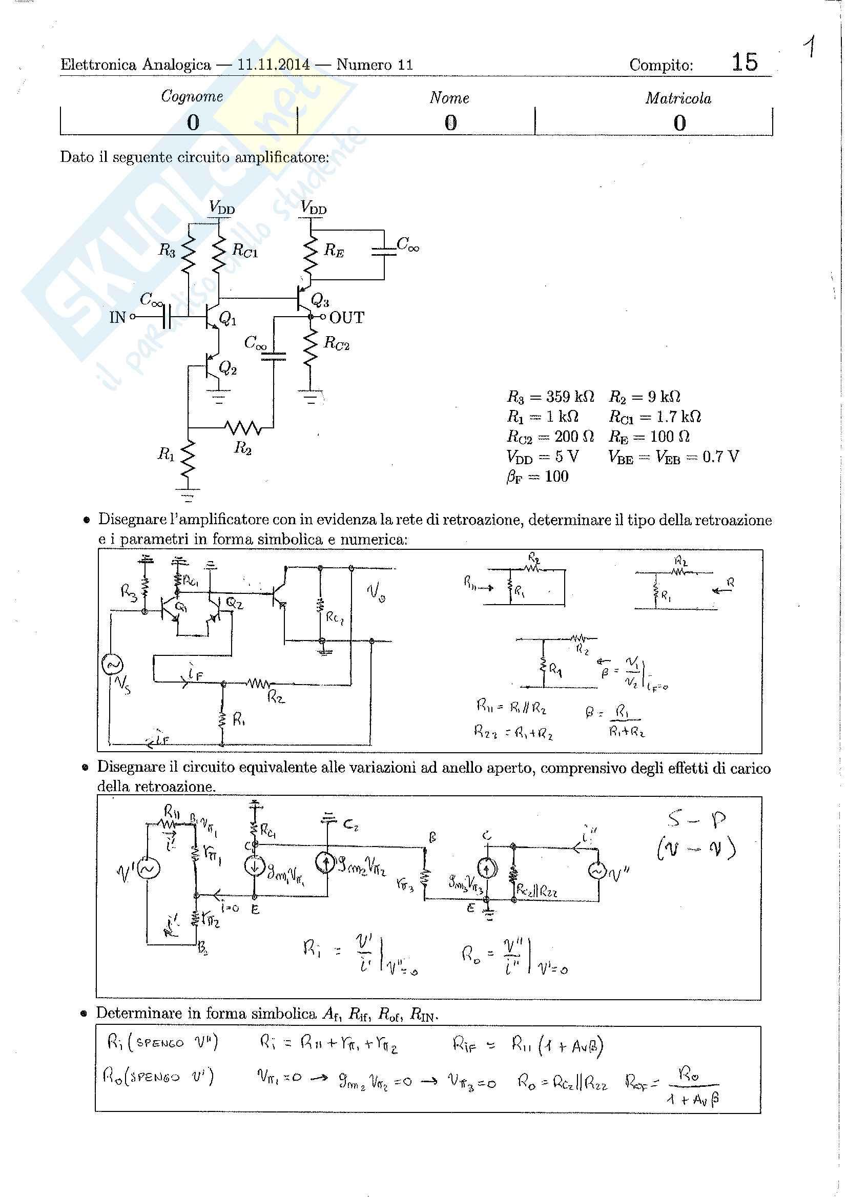 Elettronica Analogica - Esercizi