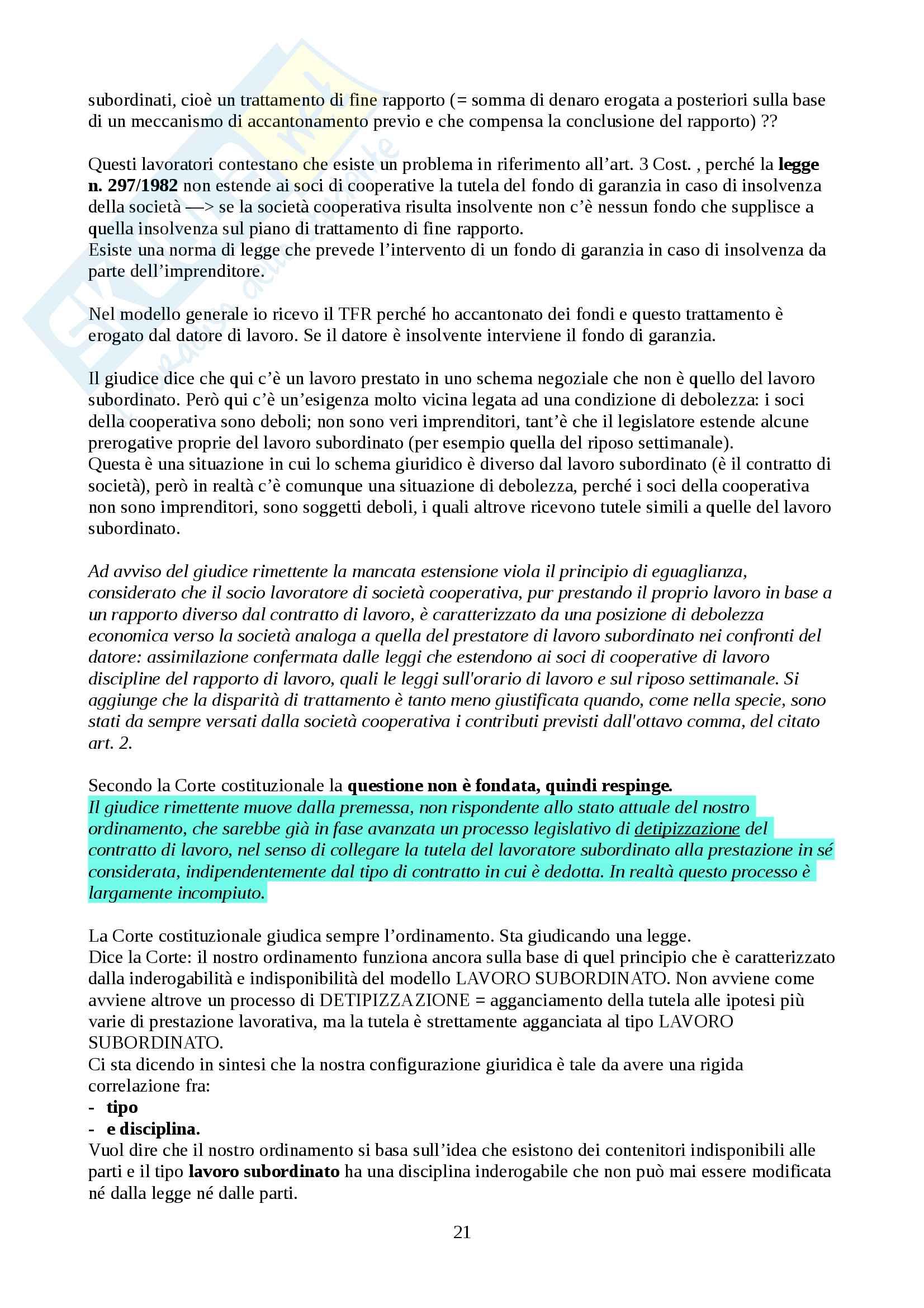 Appunti sui vari tipi di rapporti lavorativi, Diritto del lavoro Pag. 21