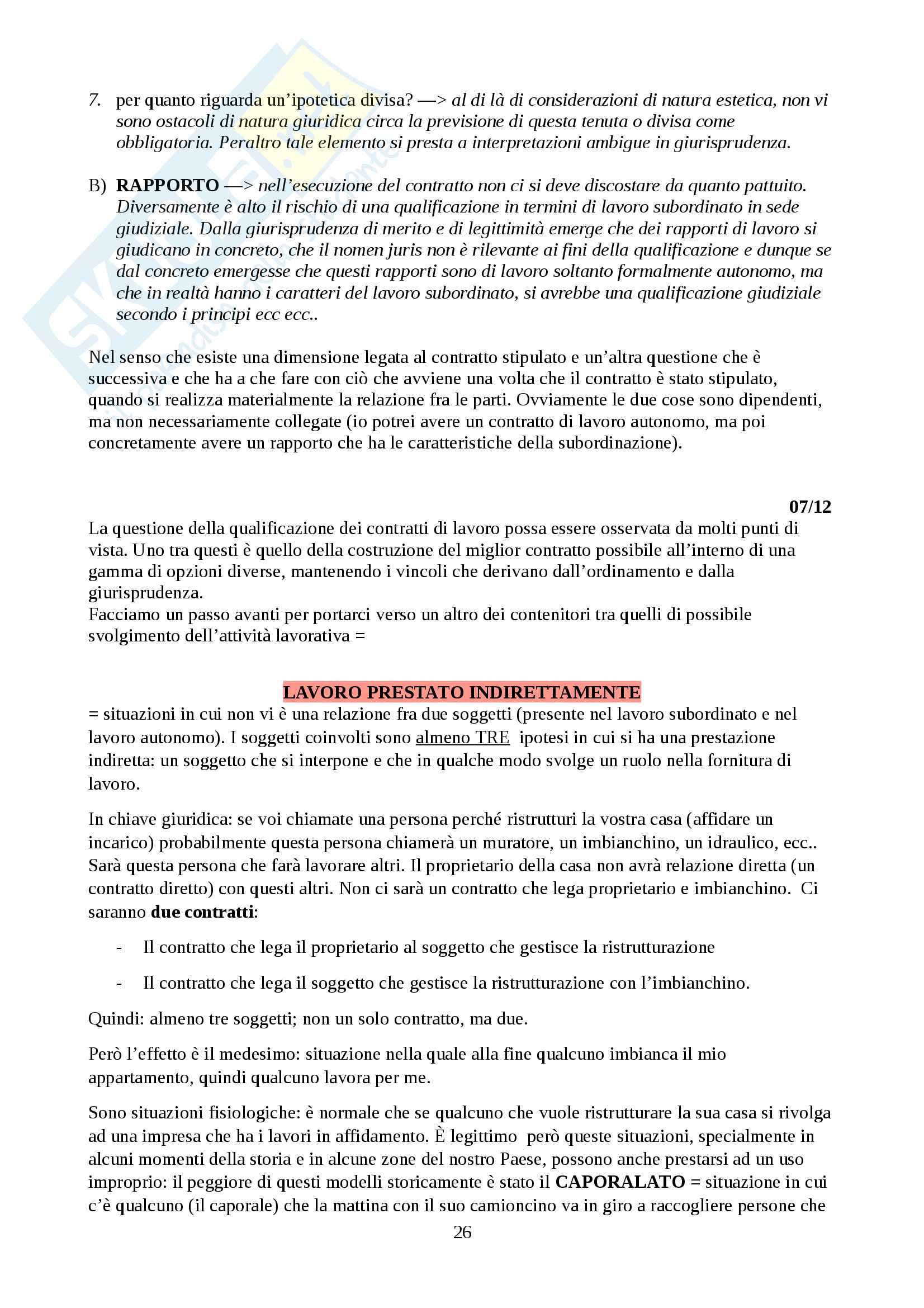 Appunti sui vari tipi di rapporti lavorativi, Diritto del lavoro Pag. 26