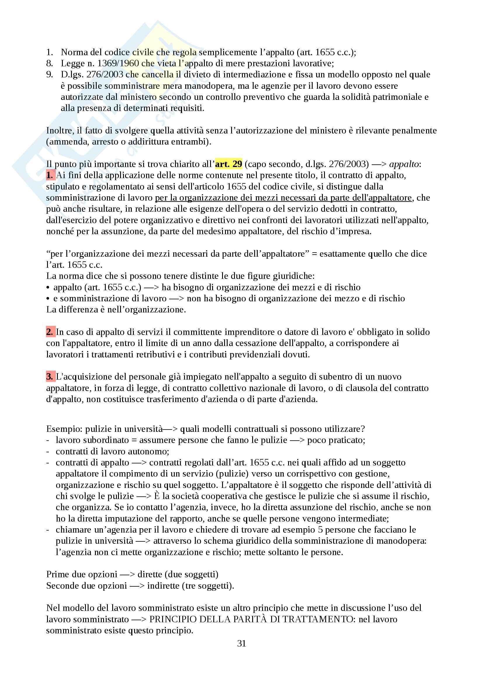 Appunti sui vari tipi di rapporti lavorativi, Diritto del lavoro Pag. 31