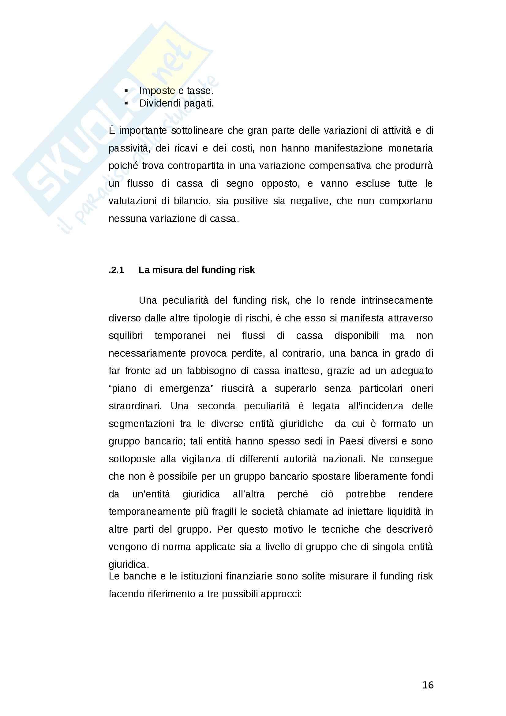 La gestione del rischio di liquidità delle banche - Tesi Pag. 16