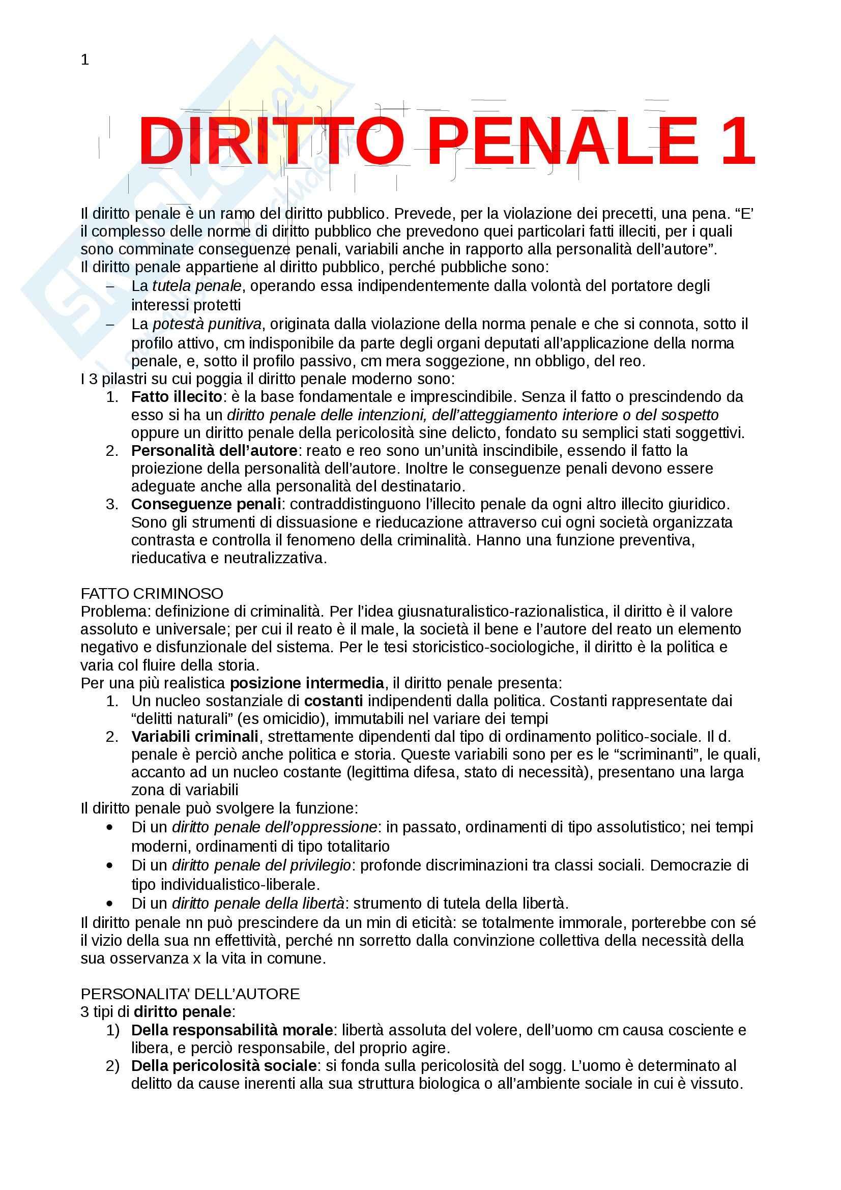 Riassunto esame Diritto, prof. Patrono, libro consigliato Diritto penale parte generale, Mantovani