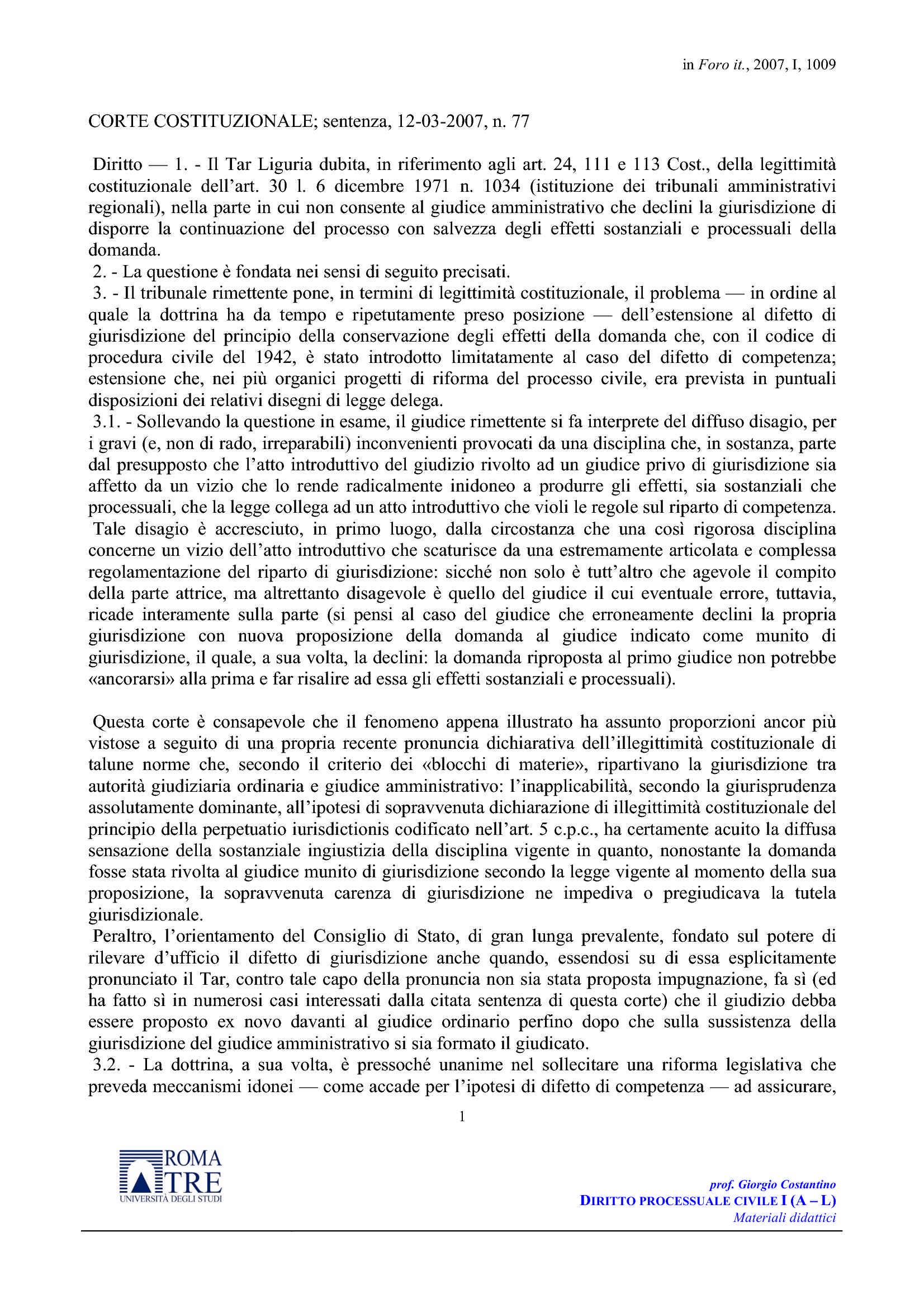 Traslatio iudicii - C. Cost. n. 77/07