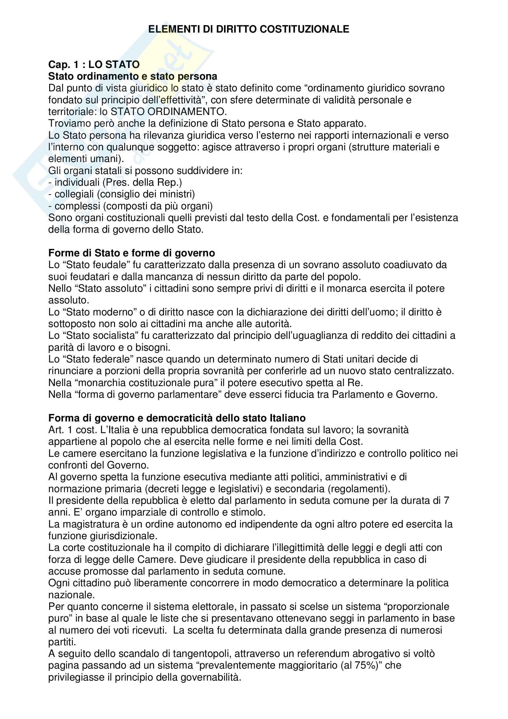 Diritto costituzionale - elementi di diritto costituzionale