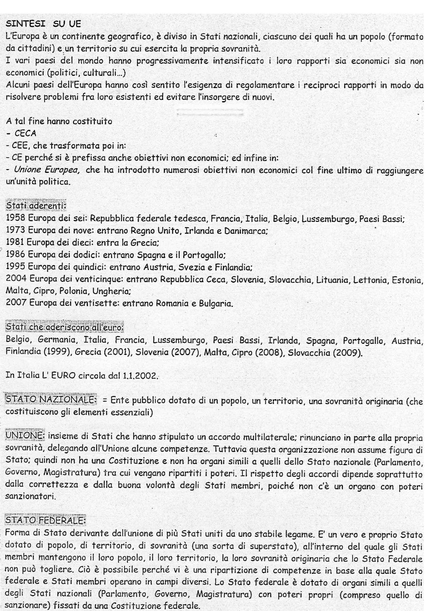 Diritto dell'Unione europea - Appunti con schema