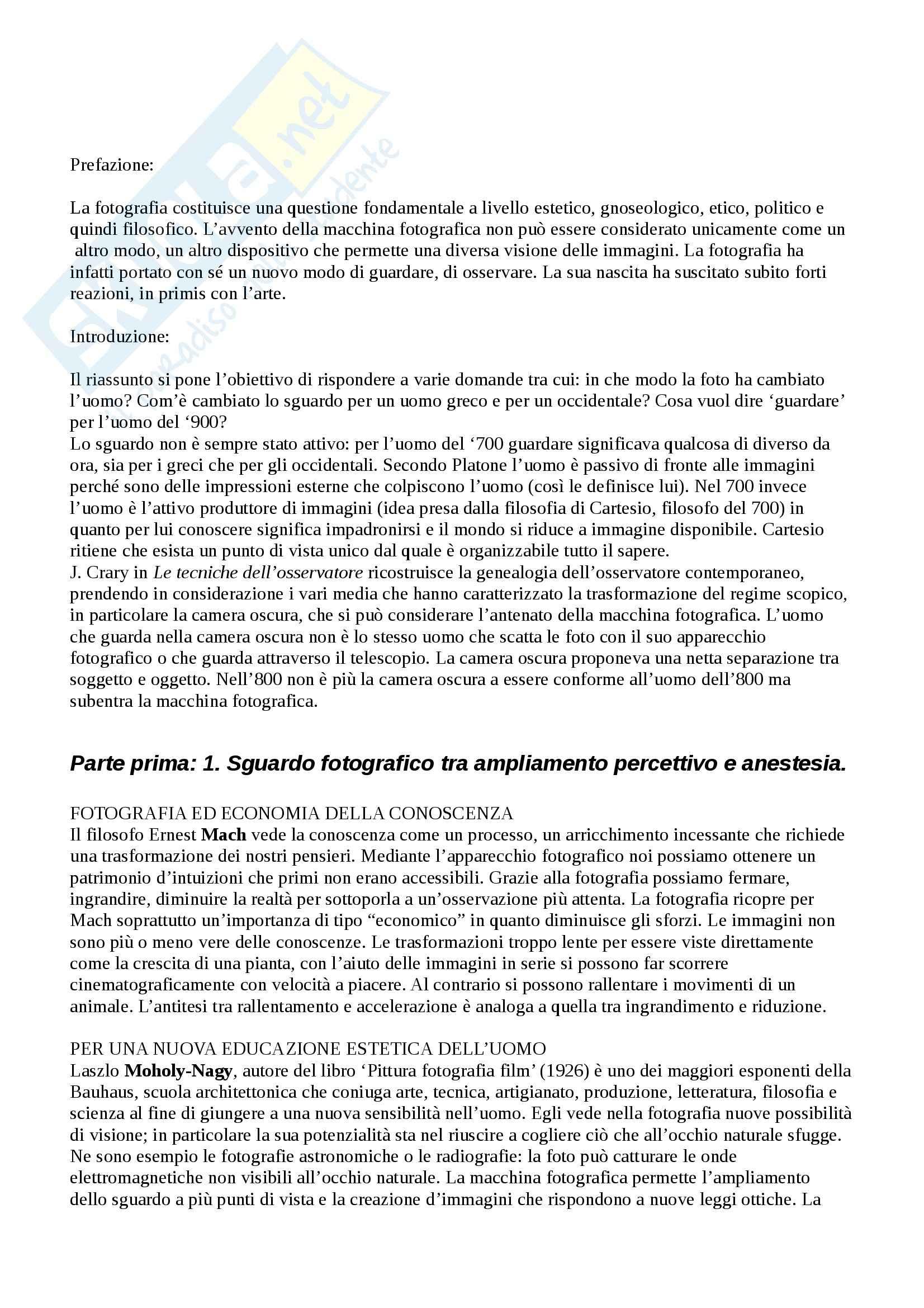 Riassunto esame Estetica, prof. Pinotti, libro consigliato Filosofia della Fotografia di Guerri e Parisi