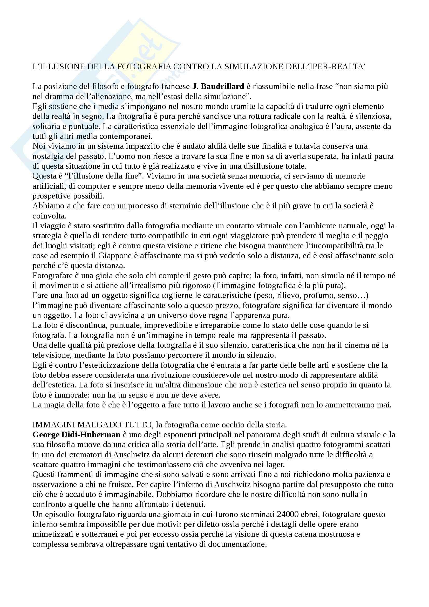 Riassunto esame Estetica, prof. Pinotti, libro consigliato Filosofia della Fotografia di Guerri e Parisi Pag. 6