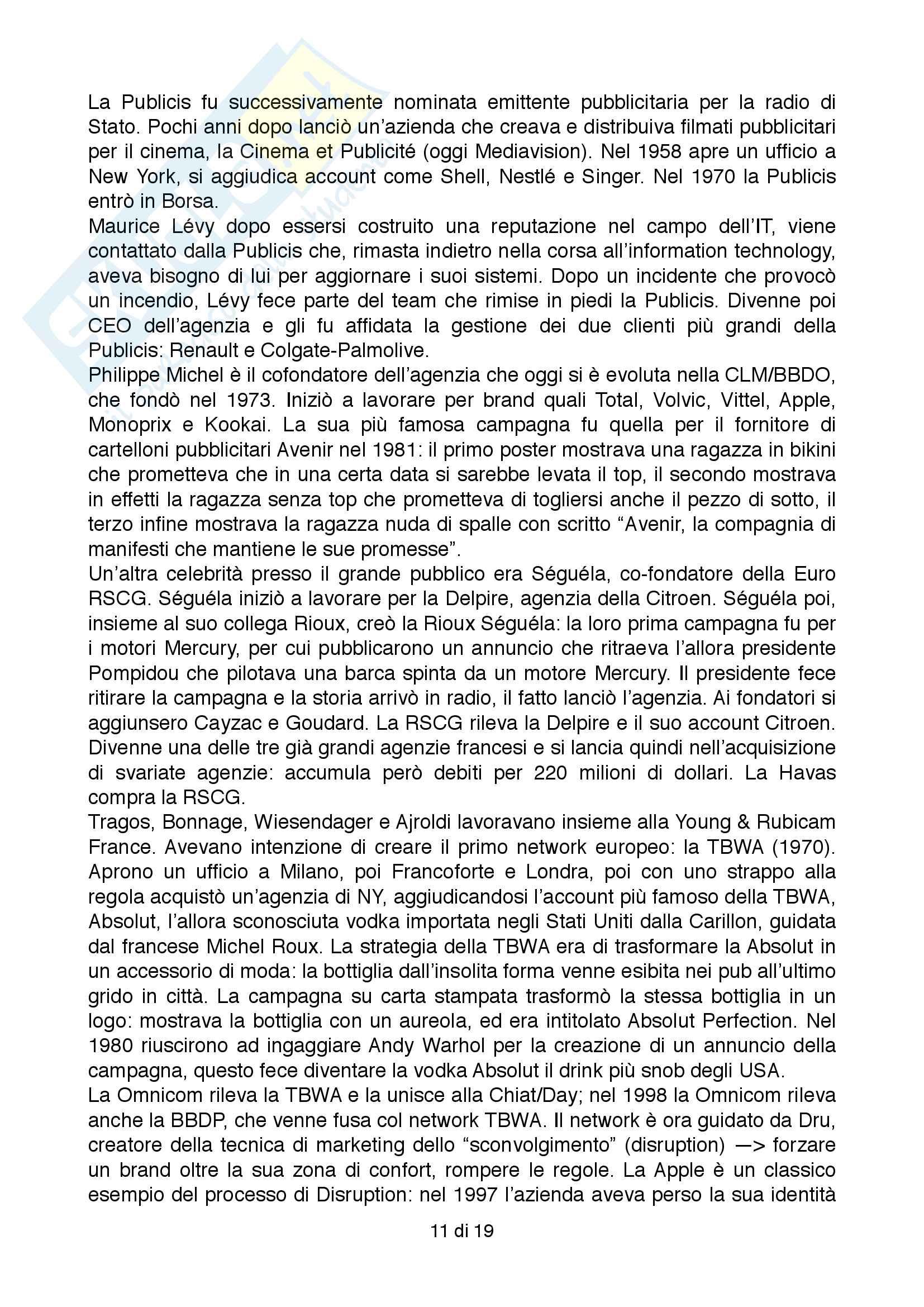 Riassunto esame Pubblicità, prof. Cornara, libro consigliato Storia della pubblicità, Mark Tungate Pag. 11