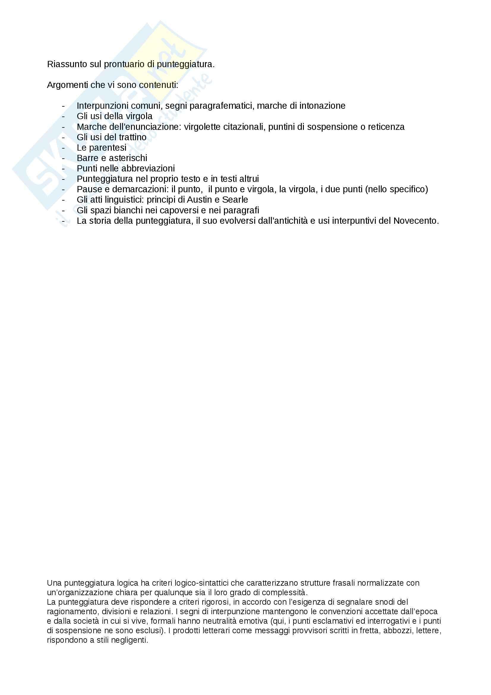 Riassunto esame Linguistica, prof. Pompei, libro consigliato Prontuario di Punteggiatura, Mortara Garavelli