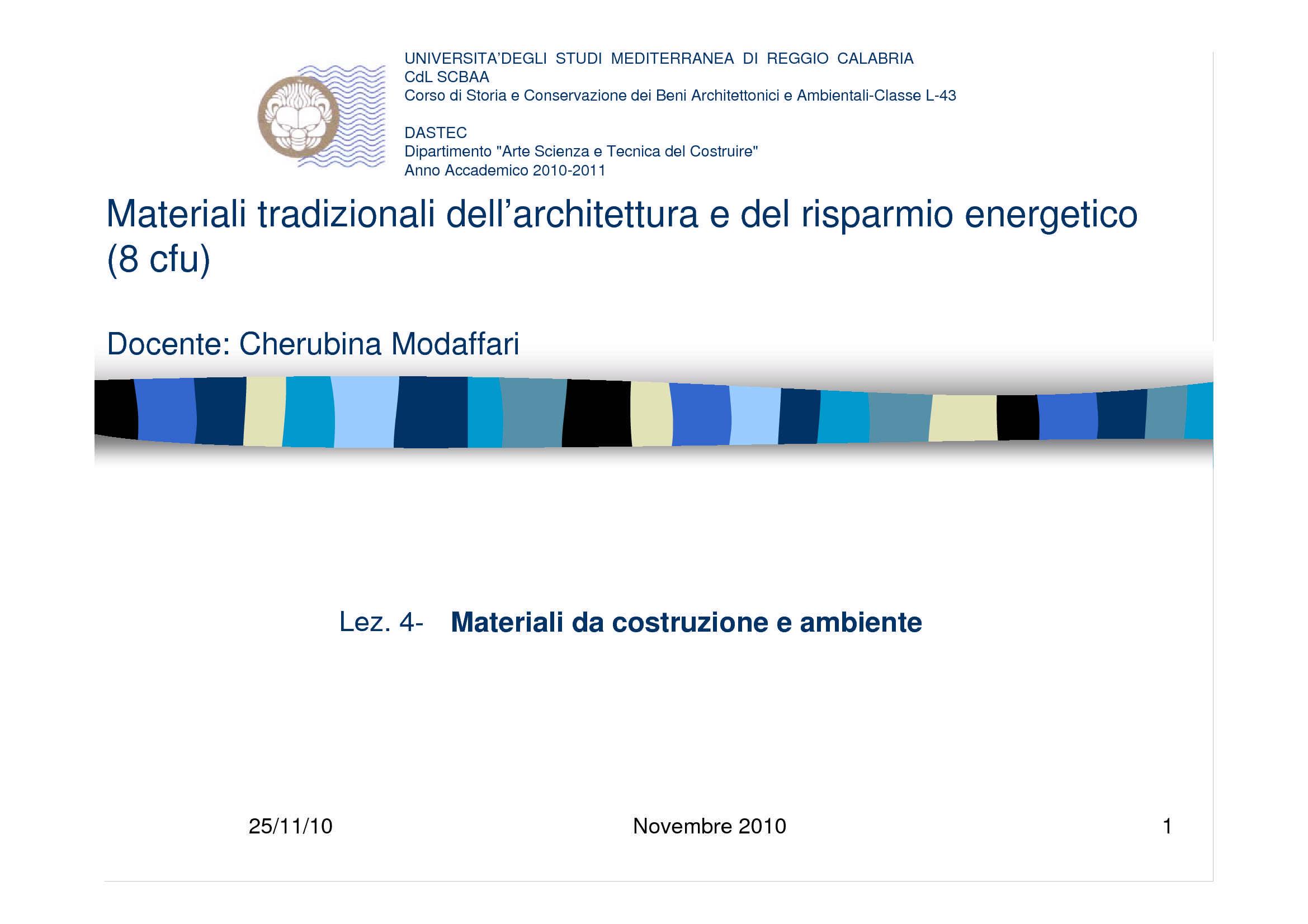 Materiali da costruzione e ambiente