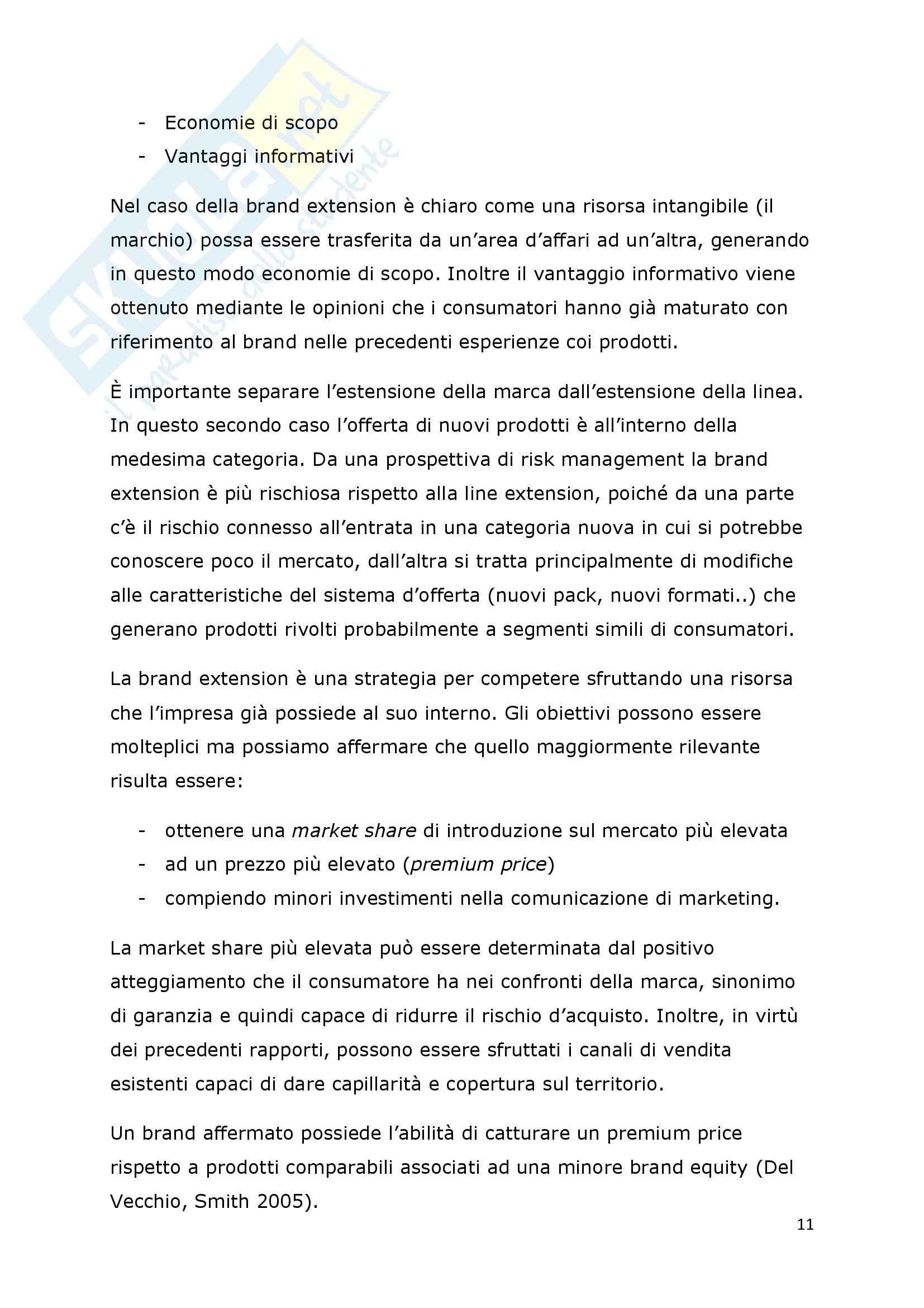 Tesi - I fattori di successo della brand extension: il ruolo del brand to category fit – il caso Callipo Pag. 11
