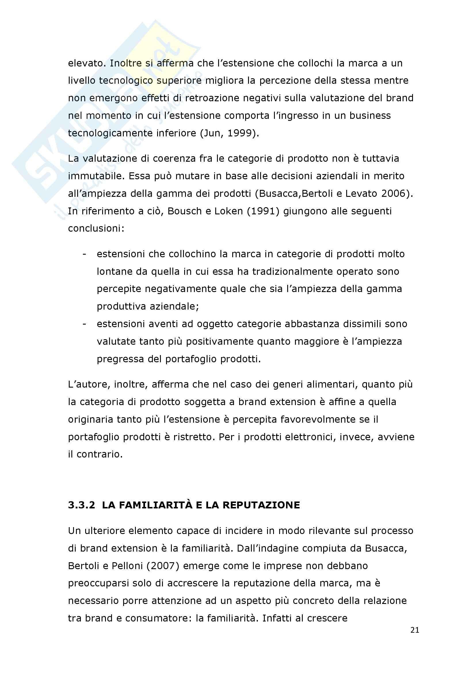Tesi - I fattori di successo della brand extension: il ruolo del brand to category fit – il caso Callipo Pag. 21