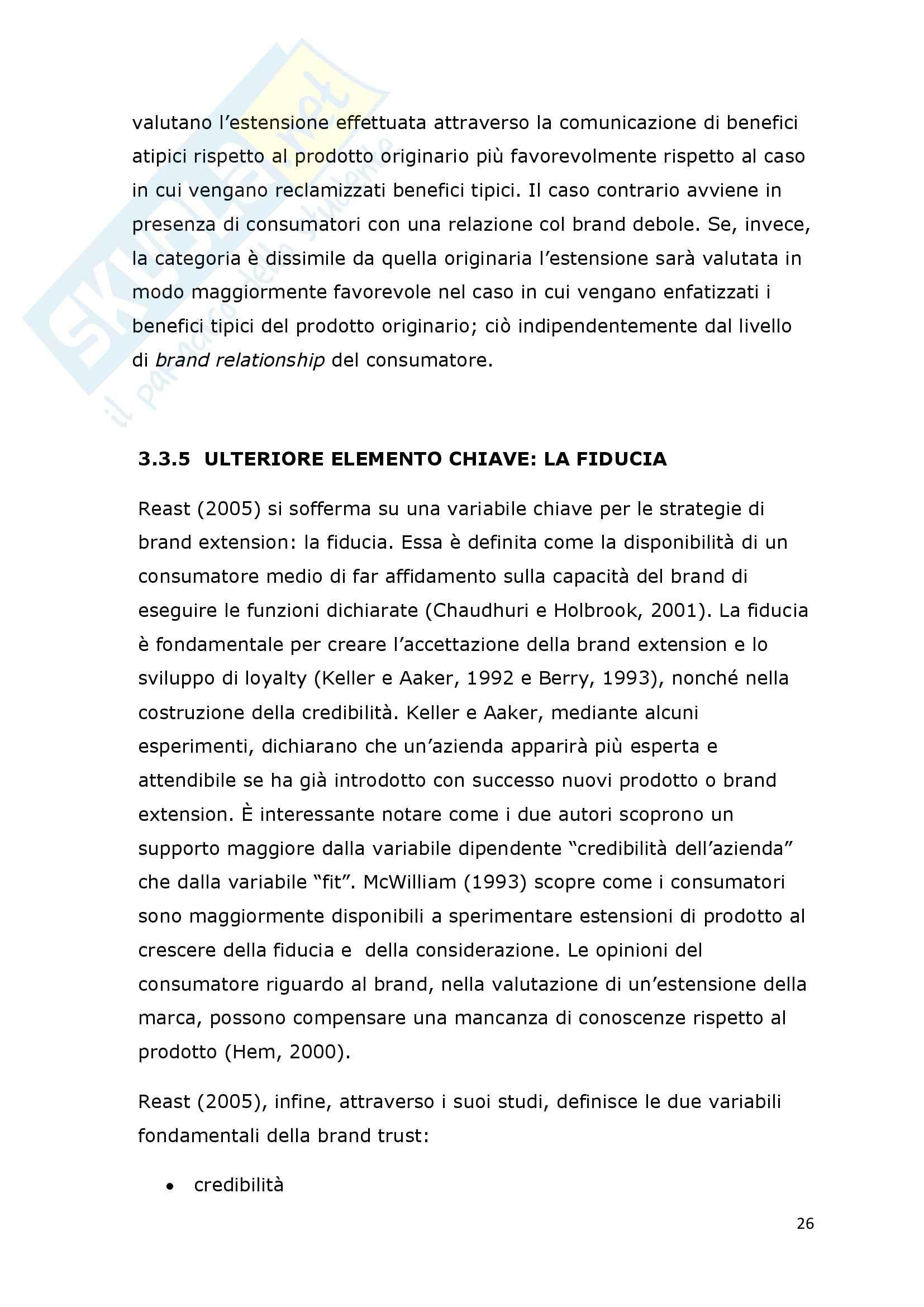 Tesi - I fattori di successo della brand extension: il ruolo del brand to category fit – il caso Callipo Pag. 26