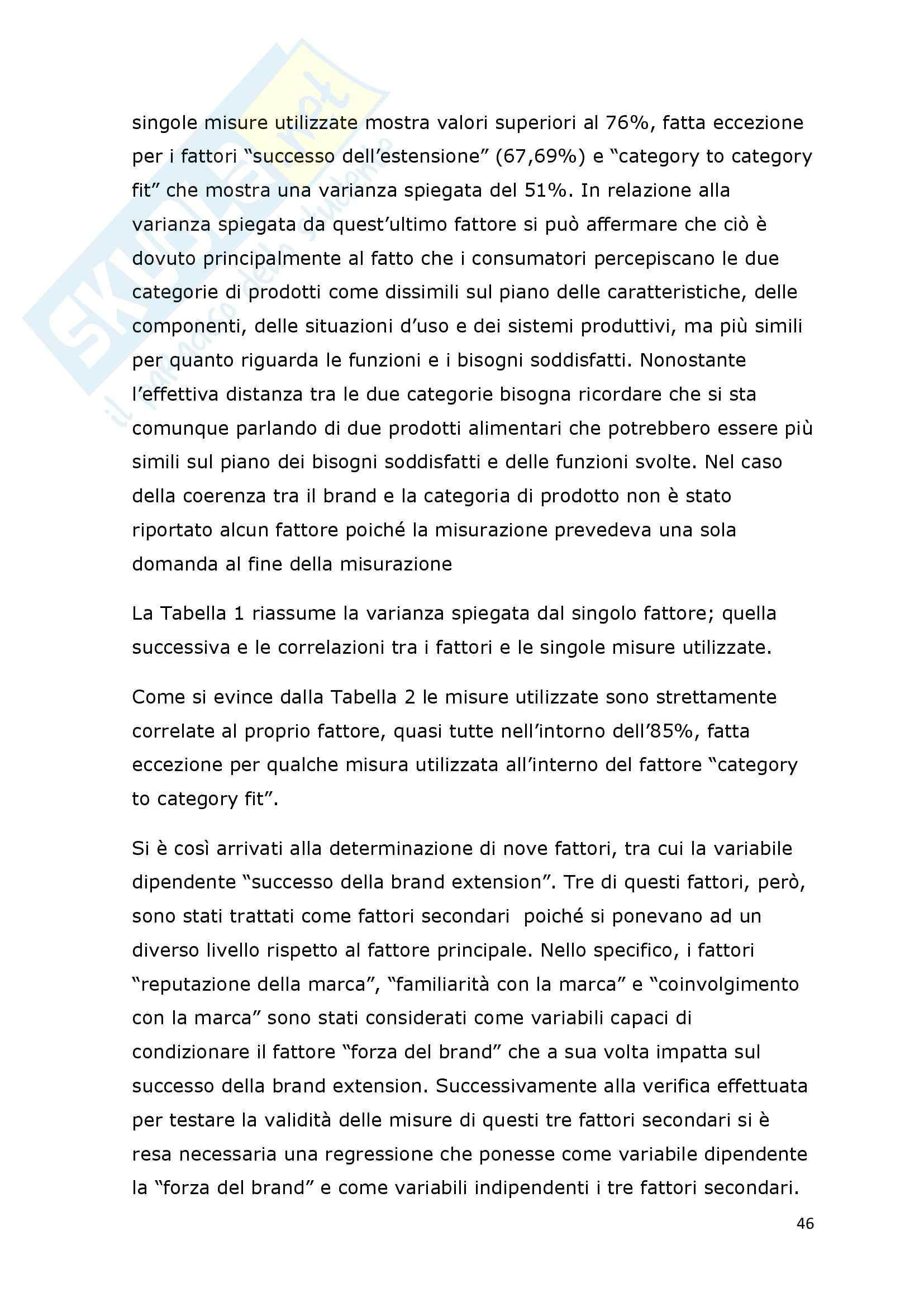 Tesi - I fattori di successo della brand extension: il ruolo del brand to category fit – il caso Callipo Pag. 46