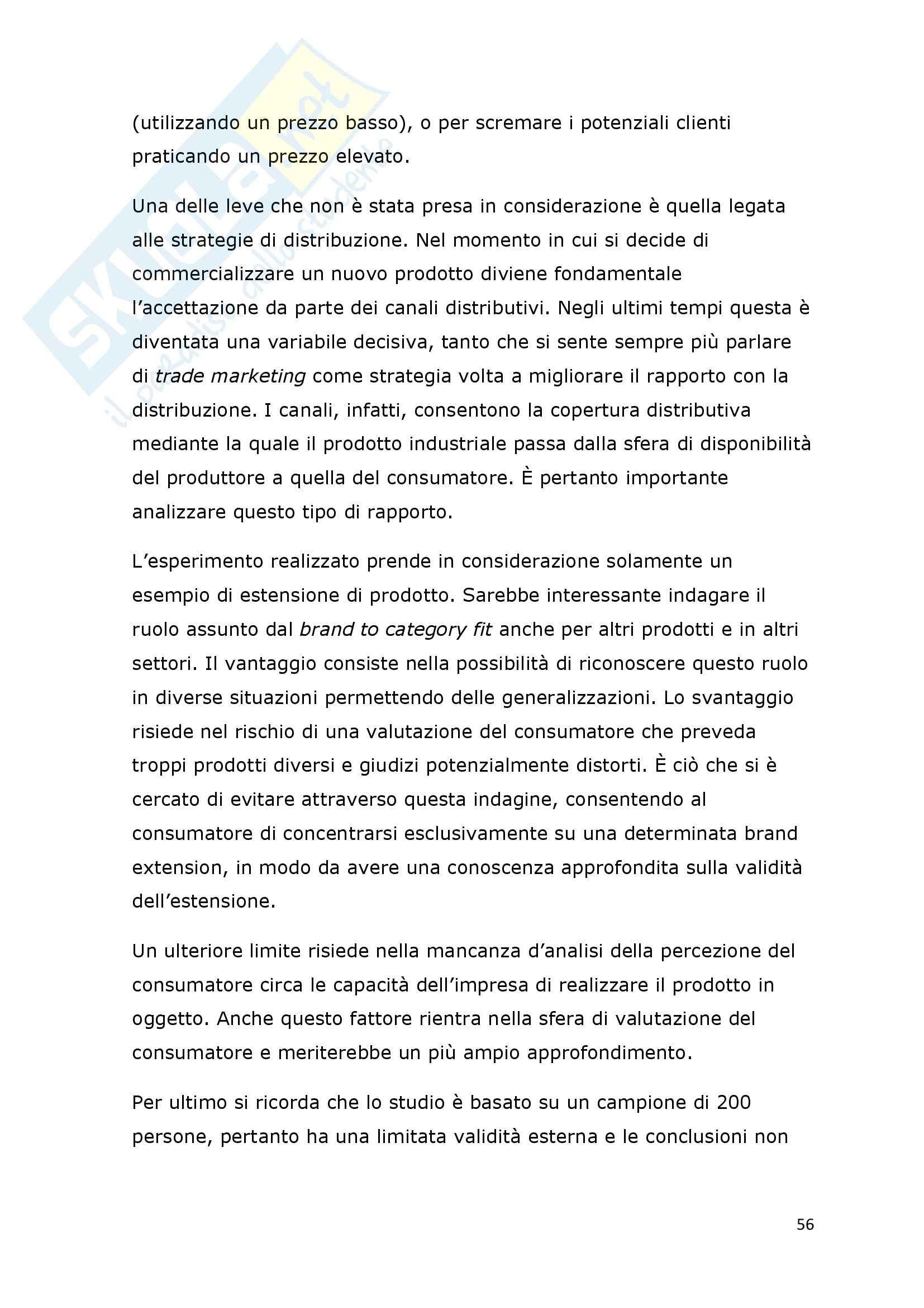 Tesi - I fattori di successo della brand extension: il ruolo del brand to category fit – il caso Callipo Pag. 56