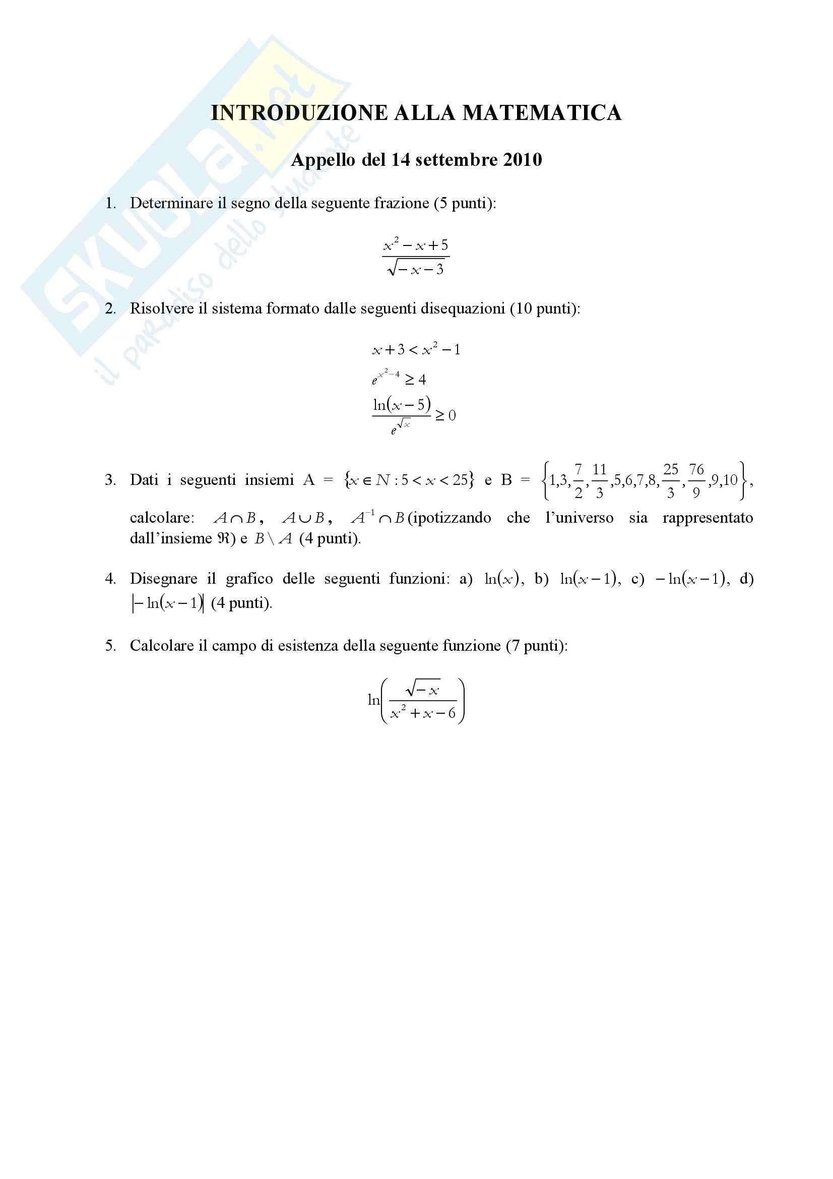 Introduzione alla matematica - Esercitazione