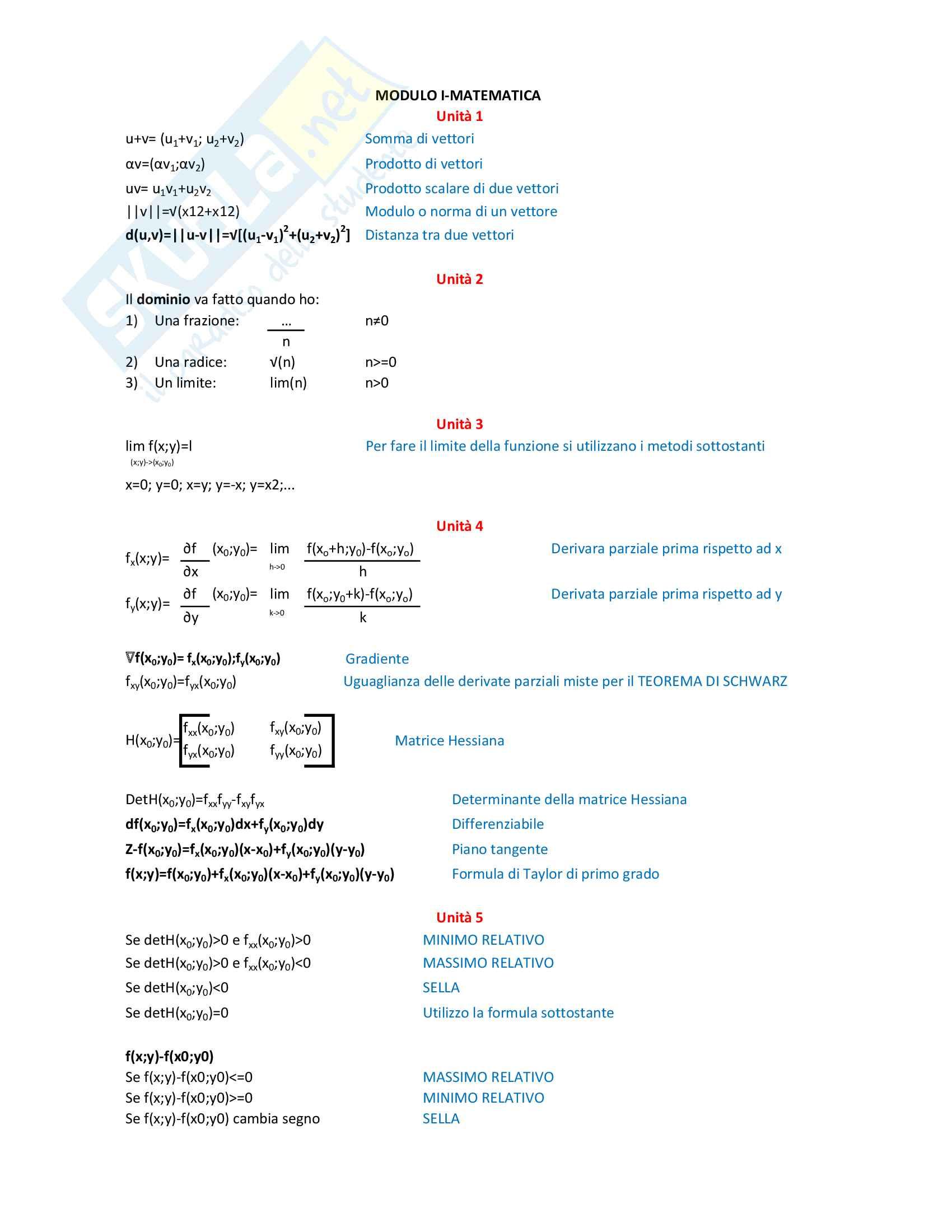 Formulario complementi di matematica