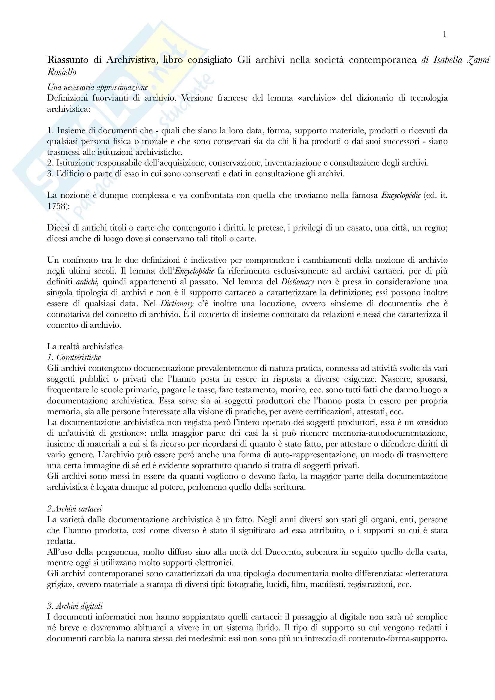 Riassunto esame Archivistica, prof. Vitali, libro consigliato Gli archivi nella società contemporanea, Zanni Rosiello