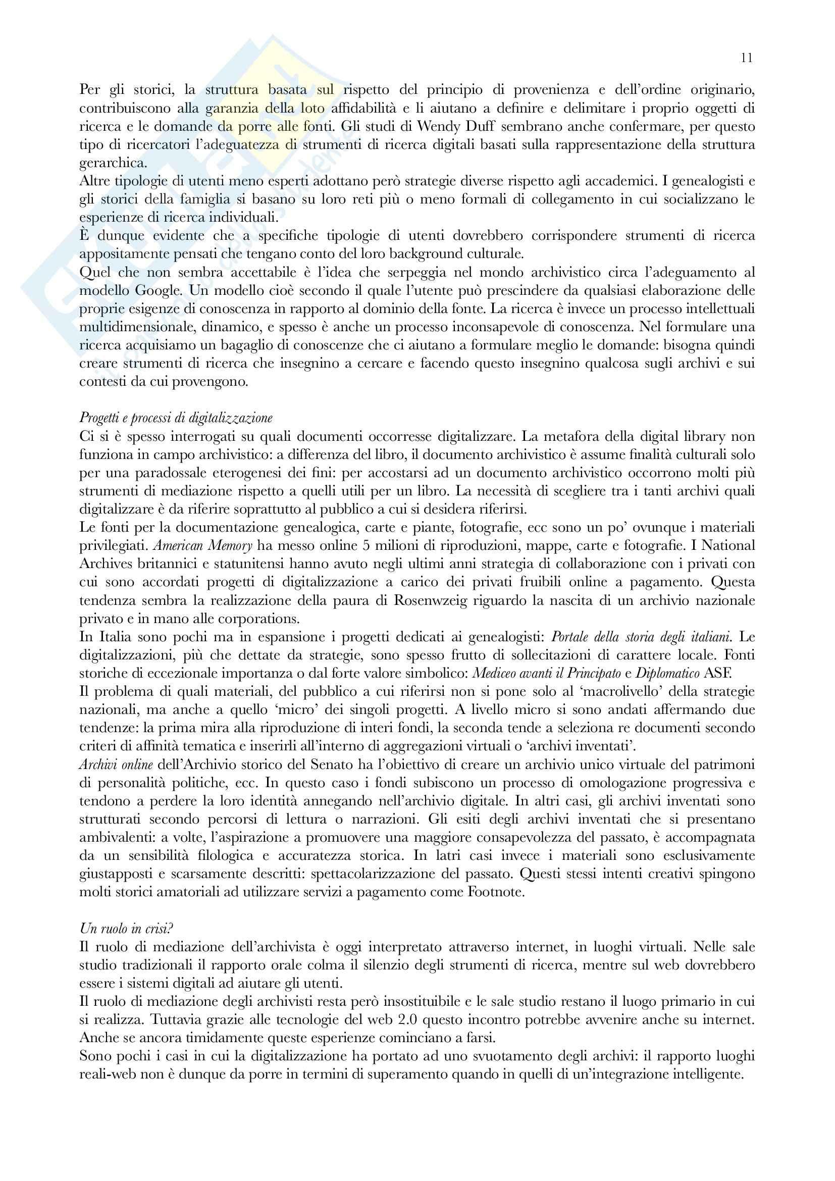 Riassunto esame Archivistica, prof. Vitali, libro consigliato Gli archivi nella società contemporanea, Zanni Rosiello Pag. 11