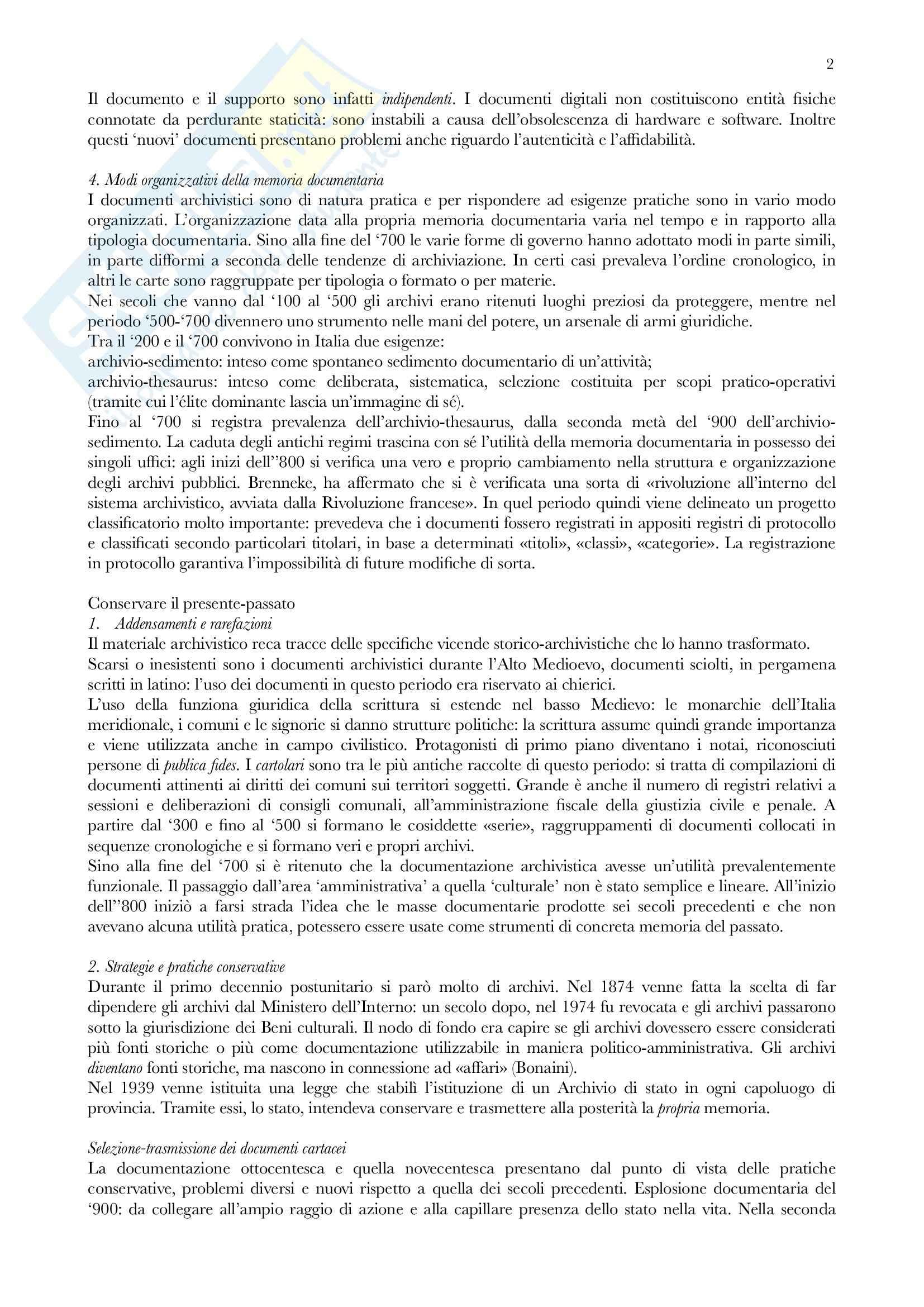 Riassunto esame Archivistica, prof. Vitali, libro consigliato Gli archivi nella società contemporanea, Zanni Rosiello Pag. 2