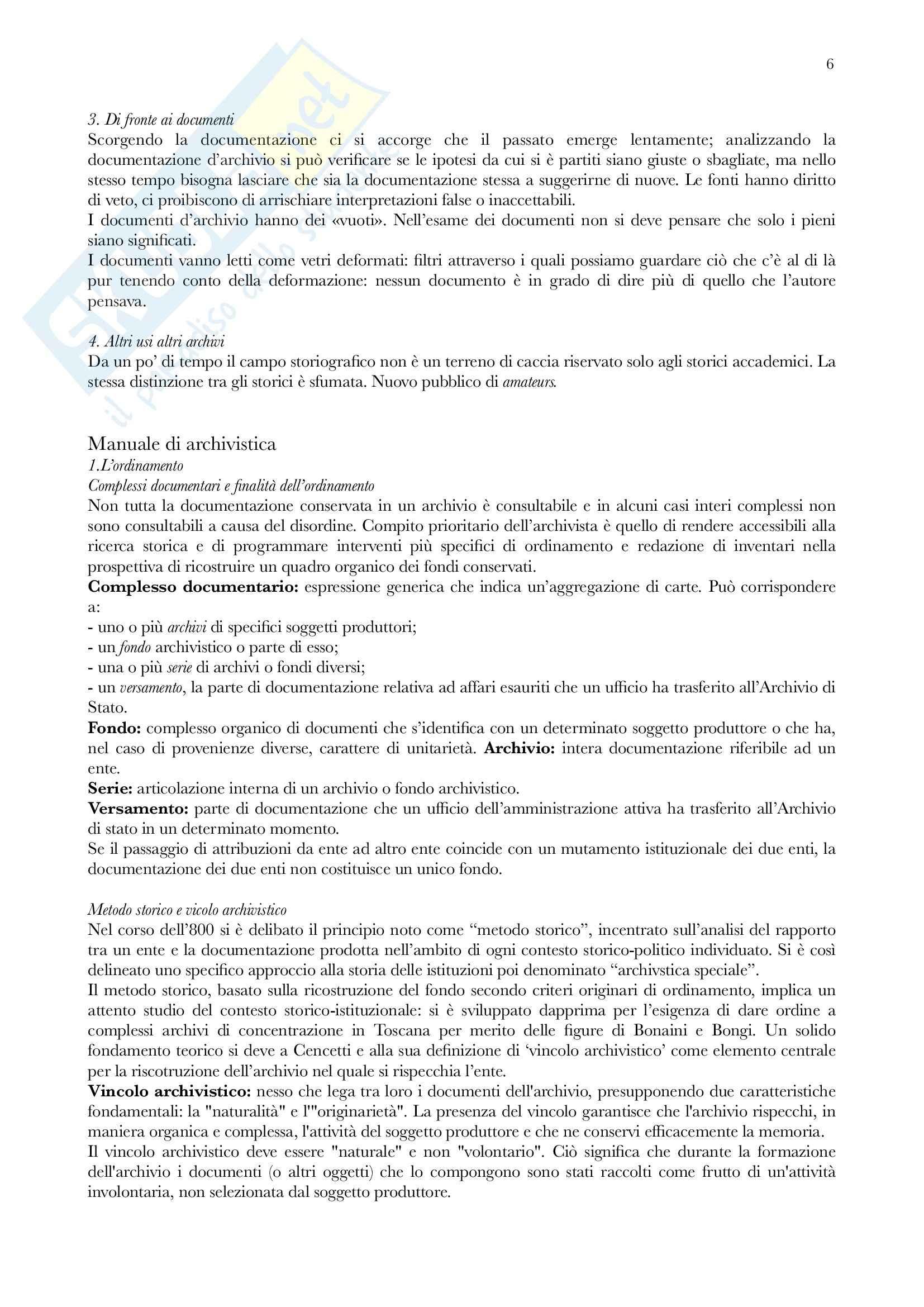 Riassunto esame Archivistica, prof. Vitali, libro consigliato Gli archivi nella società contemporanea, Zanni Rosiello Pag. 6