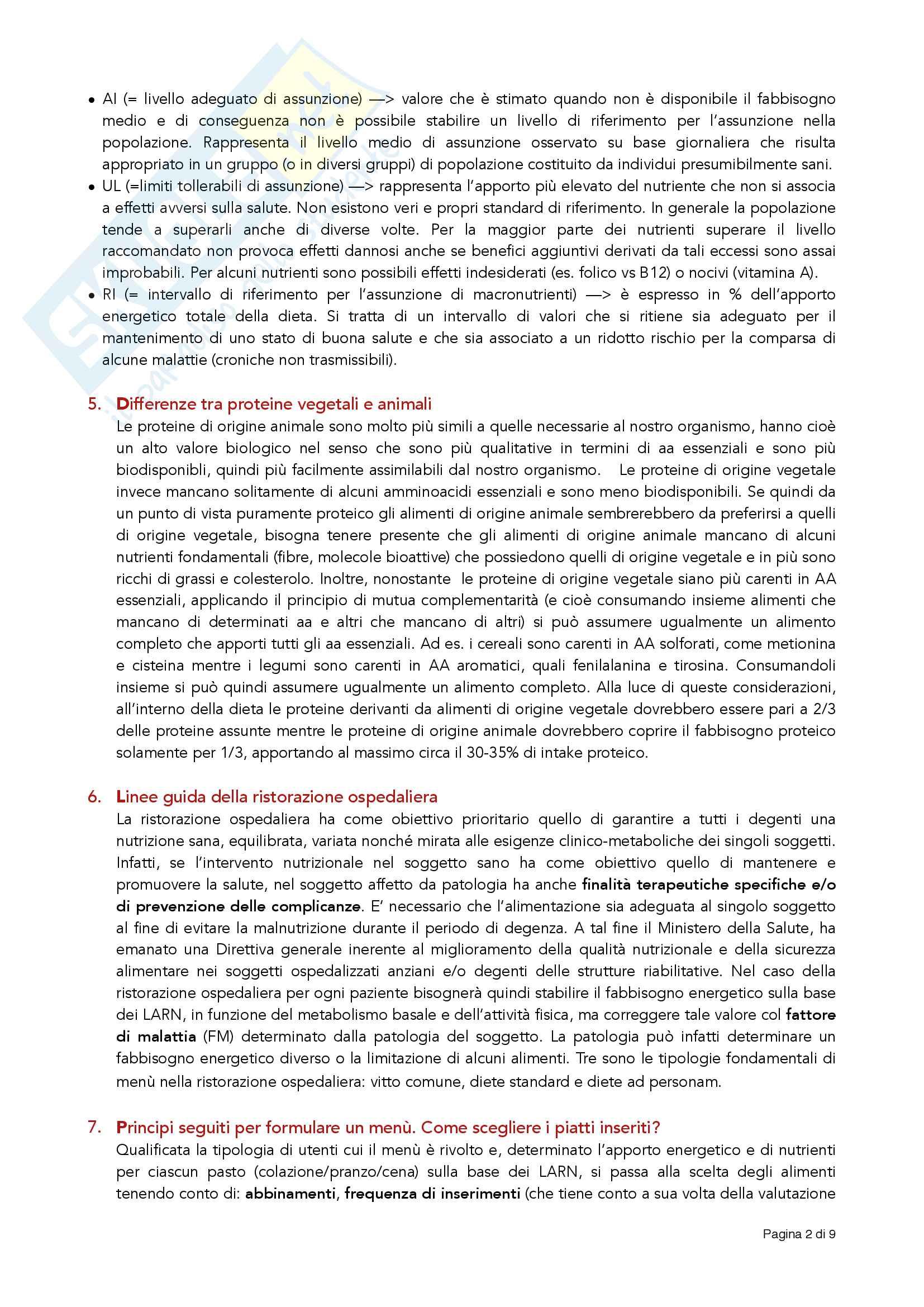 Principali domande (e risposte) date agli esami di nutrizione delle collettività Pag. 2