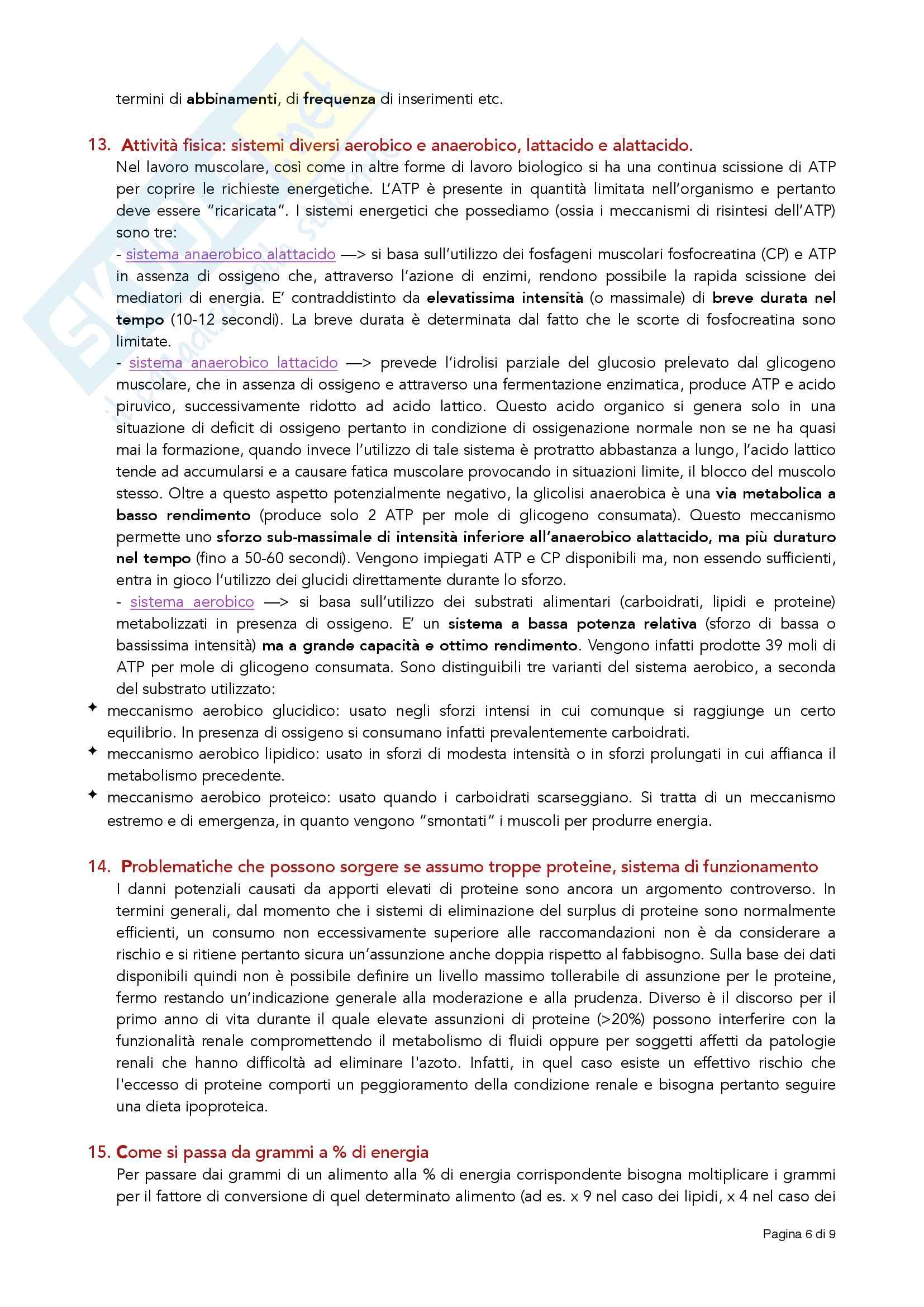 Principali domande (e risposte) date agli esami di nutrizione delle collettività Pag. 6