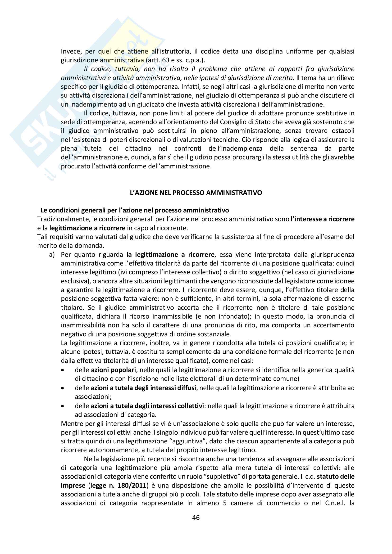 Riassunto esame Giustizia Amministrativa, prof. Dugato, libro consigliato Giustizia Amministrativa, Travi Pag. 46