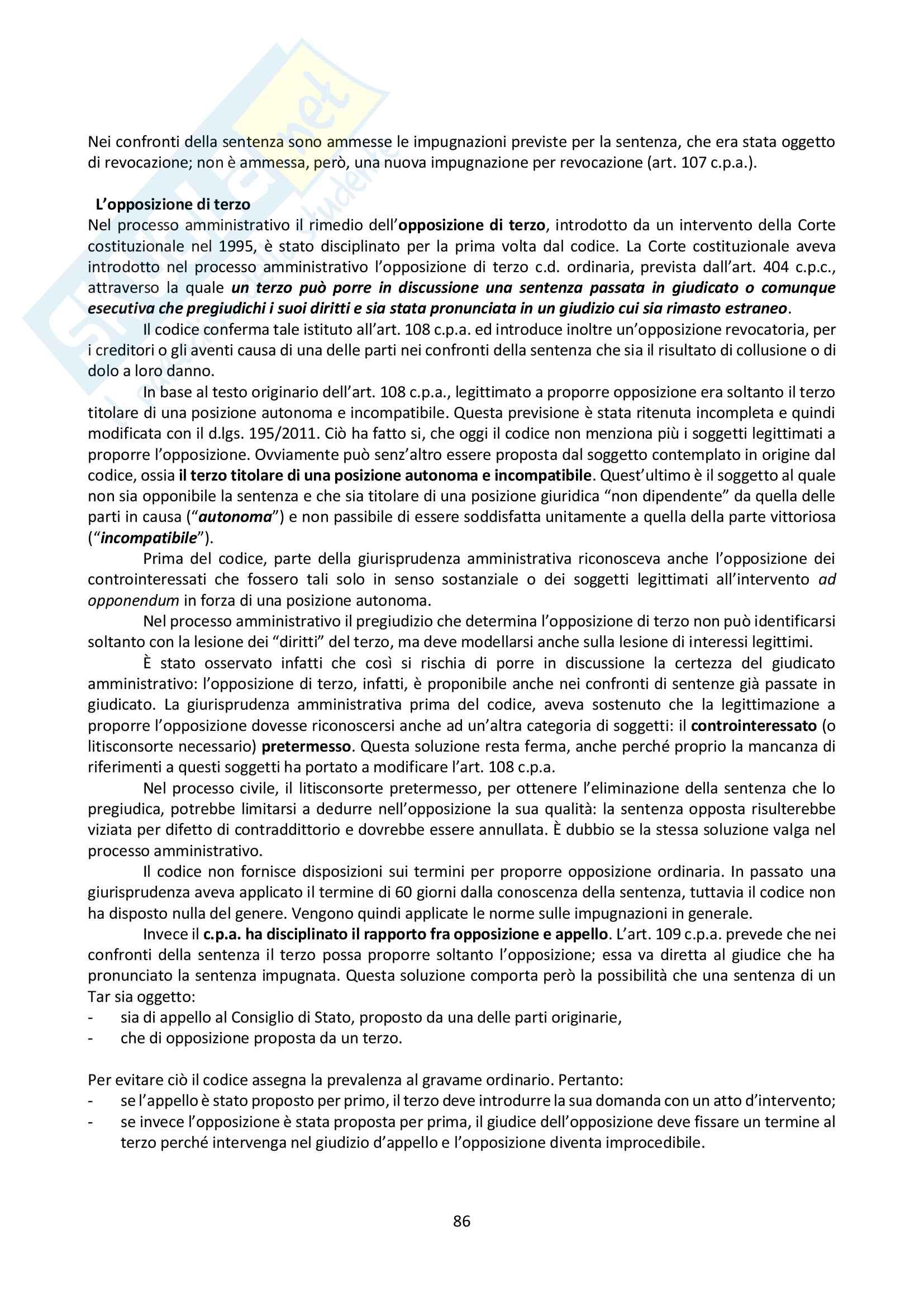 Riassunto esame Giustizia Amministrativa, prof. Dugato, libro consigliato Giustizia Amministrativa, Travi Pag. 86