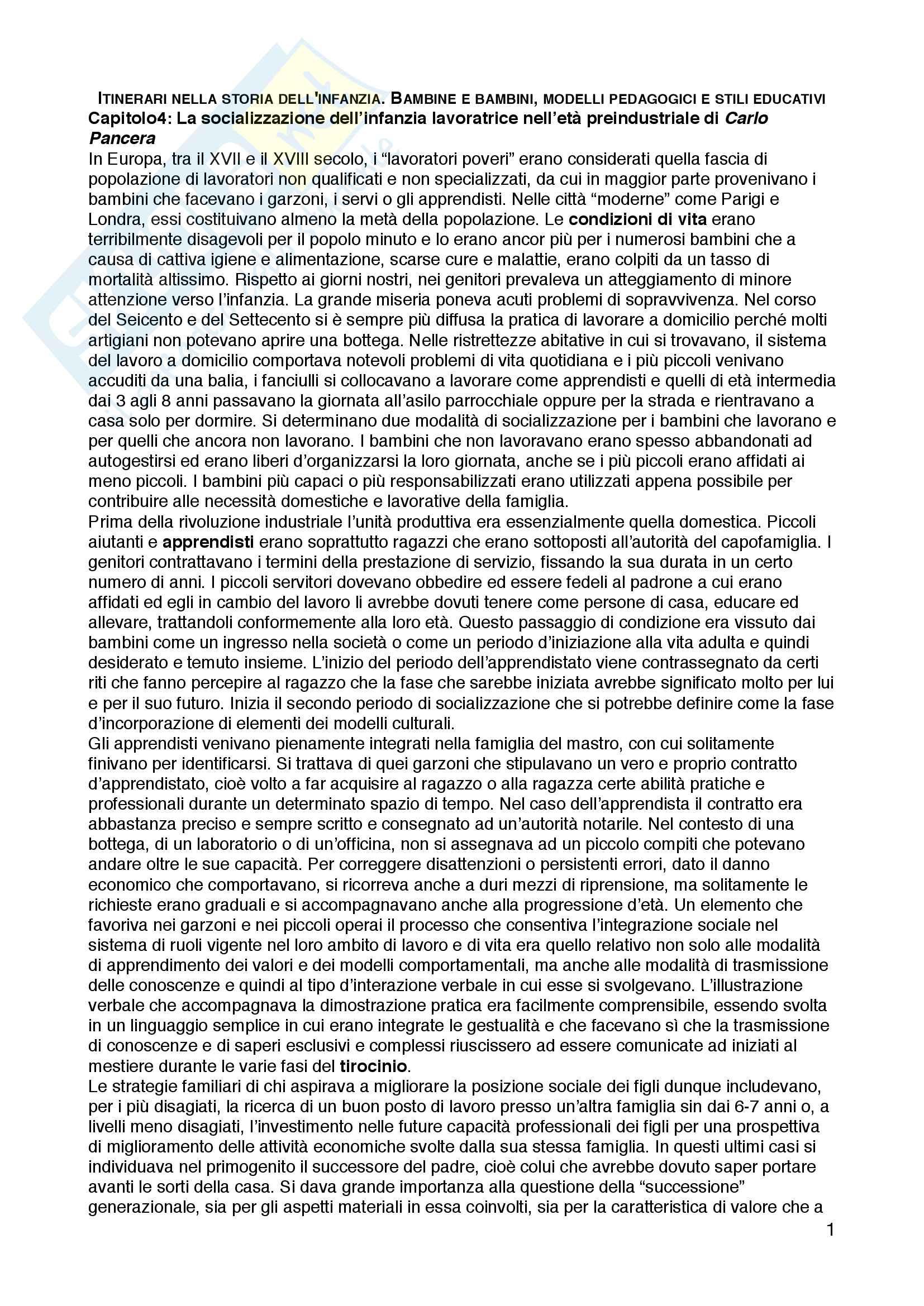 """Riassunto esame Pedagogia dell'infanzia, prof.ssa Simonetta Ulivieri, libro consigliato """"Itinerari nella storia dell infanzia. Bambine e bambini, modelli pedagogici e stili educativi"""", Carmela Covato, Simonetta Ulivieri"""