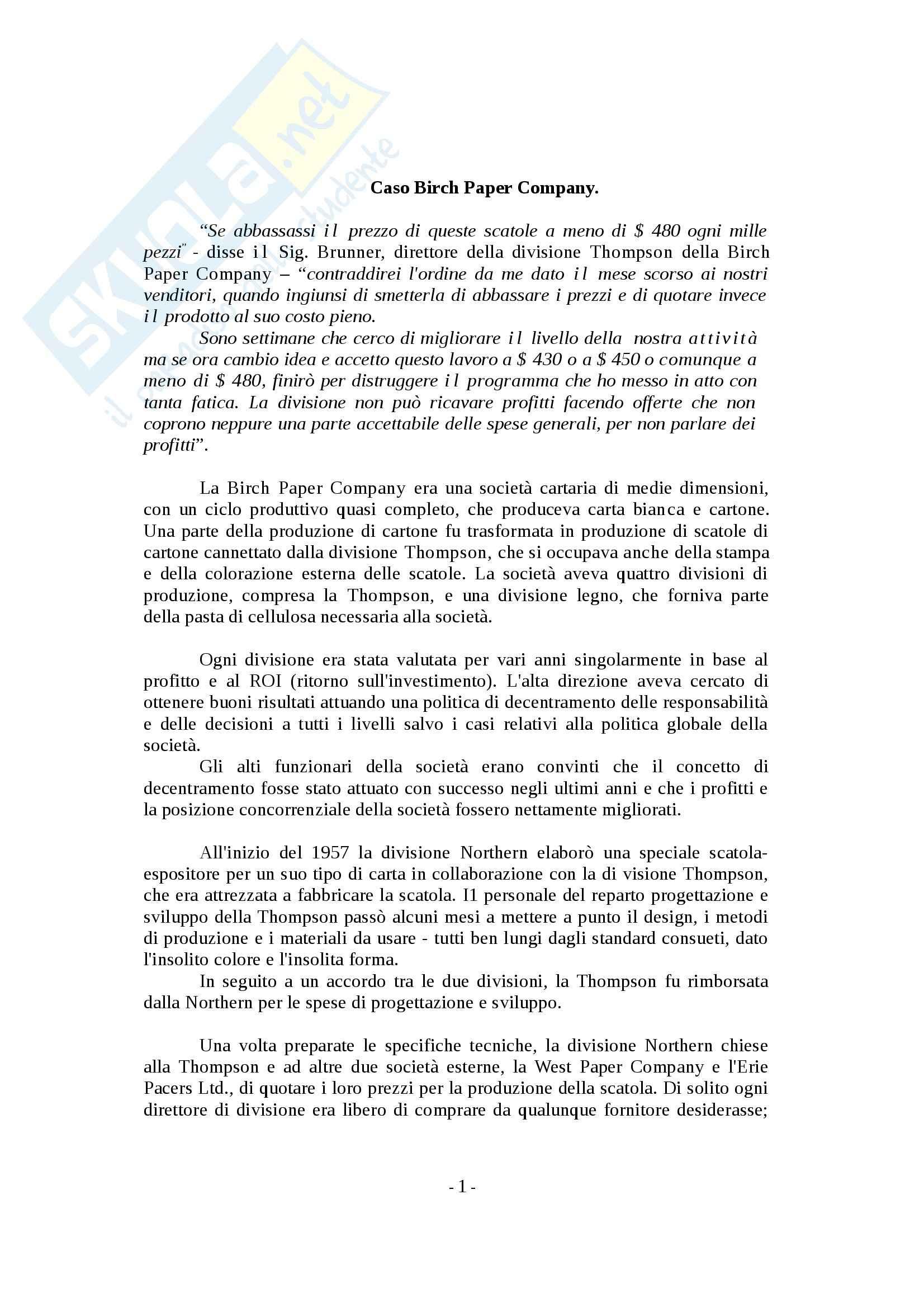 Programmazione e controllo II - Caso Birch Paper