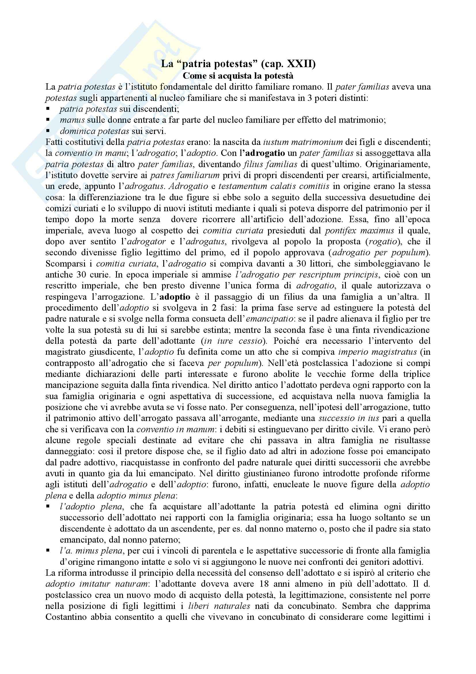 Diritto romano - la patria potestas