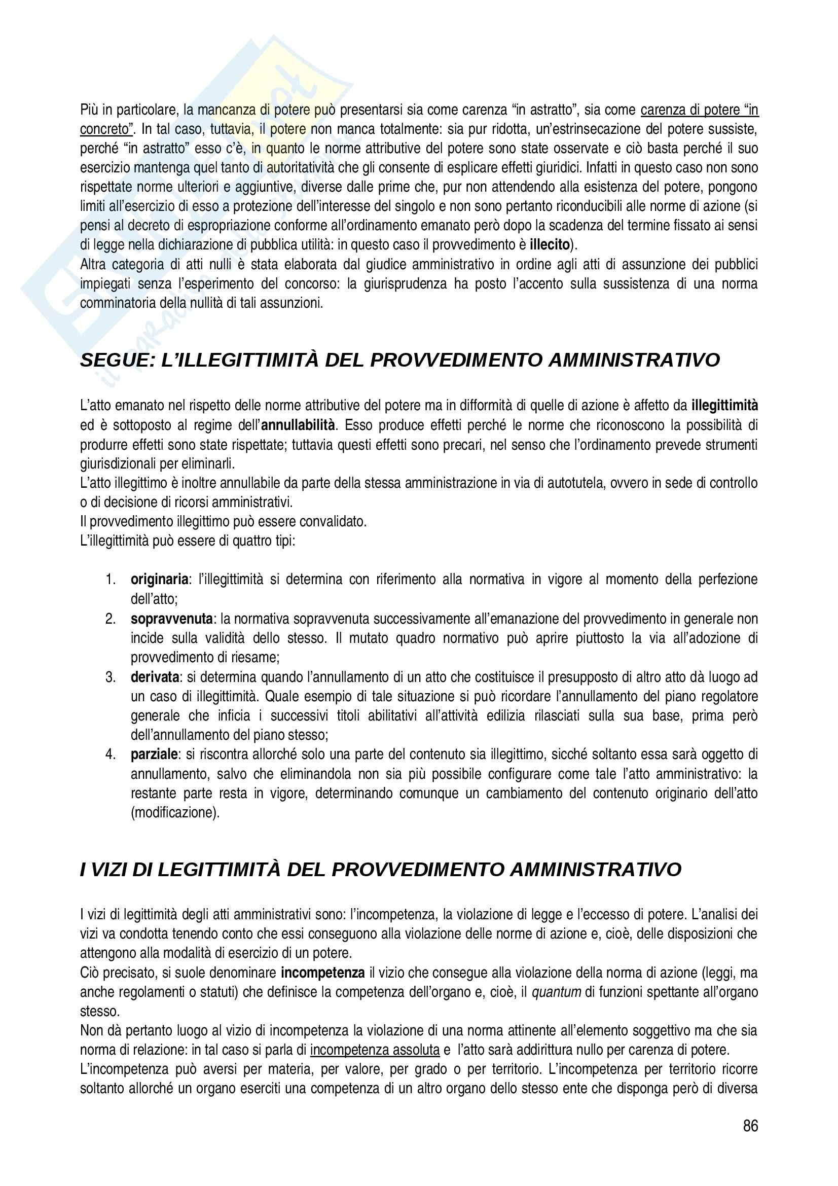 Riassunto esame diritto, prof. Corletto, libro consigliato Manuale di diritto amministrativo, Casetta Pag. 86