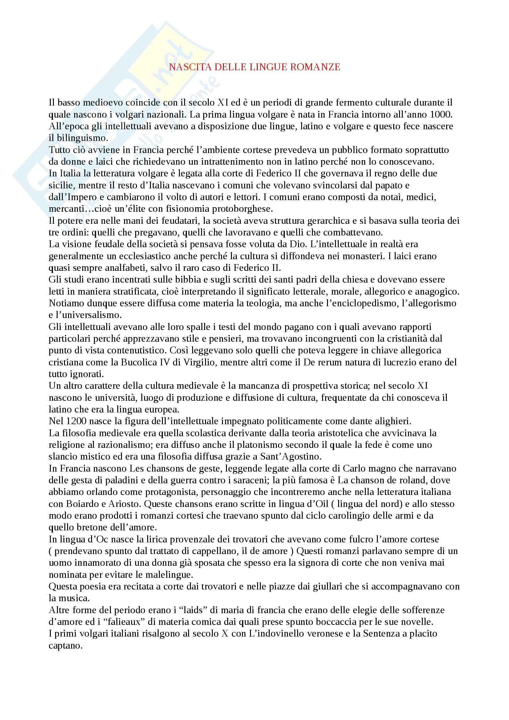 appunto M. Muscariello Letteratura italiana